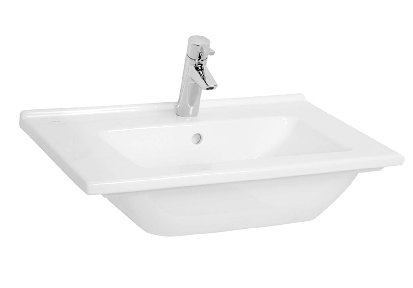 S50 Vanity Basin, 60cm with Middle Tap Hole, with Side Holes