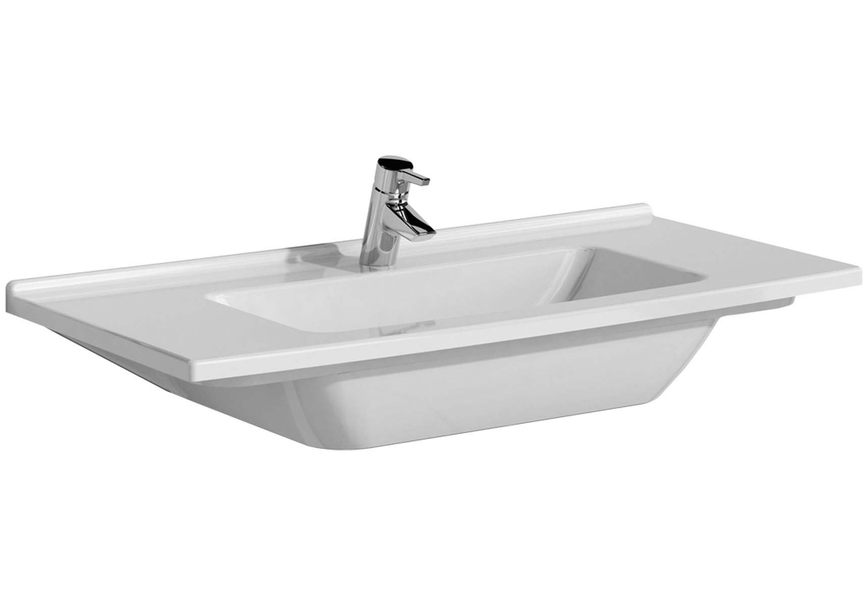 S50 Vanity Basin, 100cm with Middle Tap Hole, with Side Holes