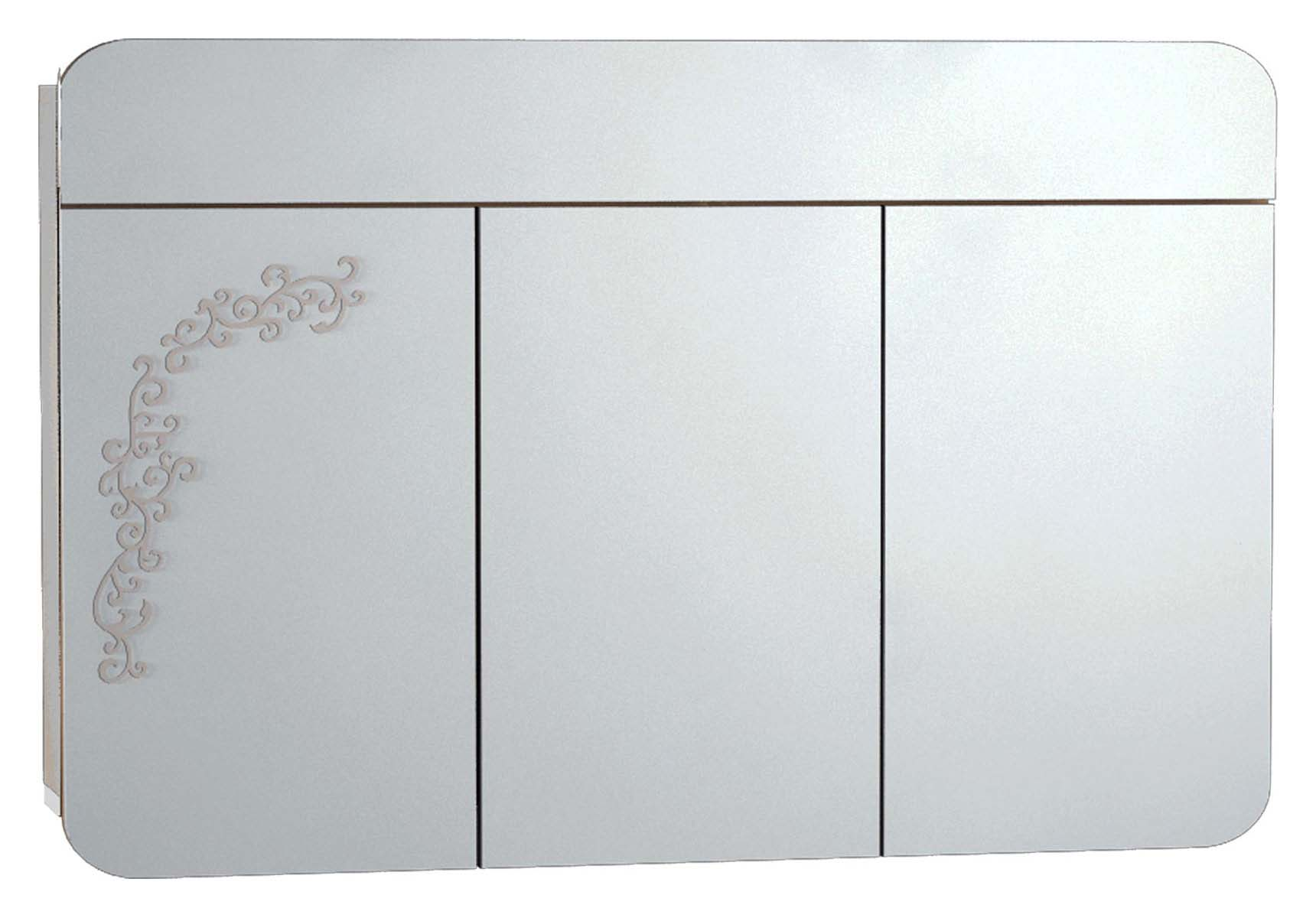 Gala Classic Illuminated Mirror with Pattern Cabinet 120 cm White High Gloss