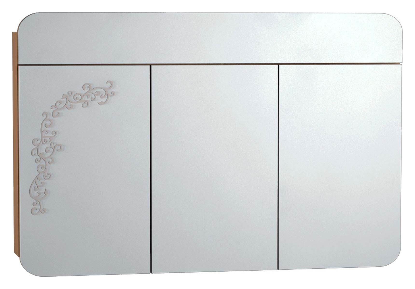 Gala Classic Illuminated Mirror with Pattern Cabinet 120 cm Beige High Gloss