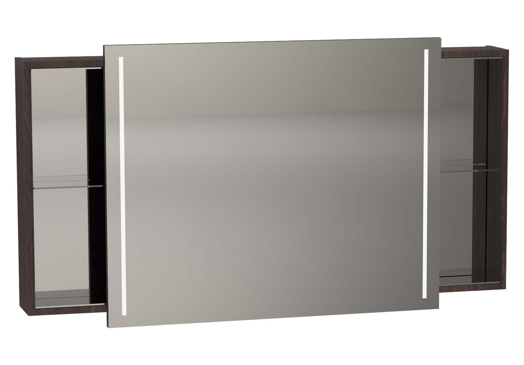 Memoria Illuminated Mirror Cabinet, 120 cm, Matte Walnut