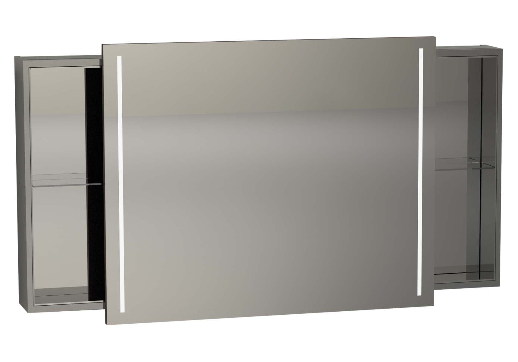 Memoria Illuminated Mirror Cabinet, 120 cm, Grey High Gloss
