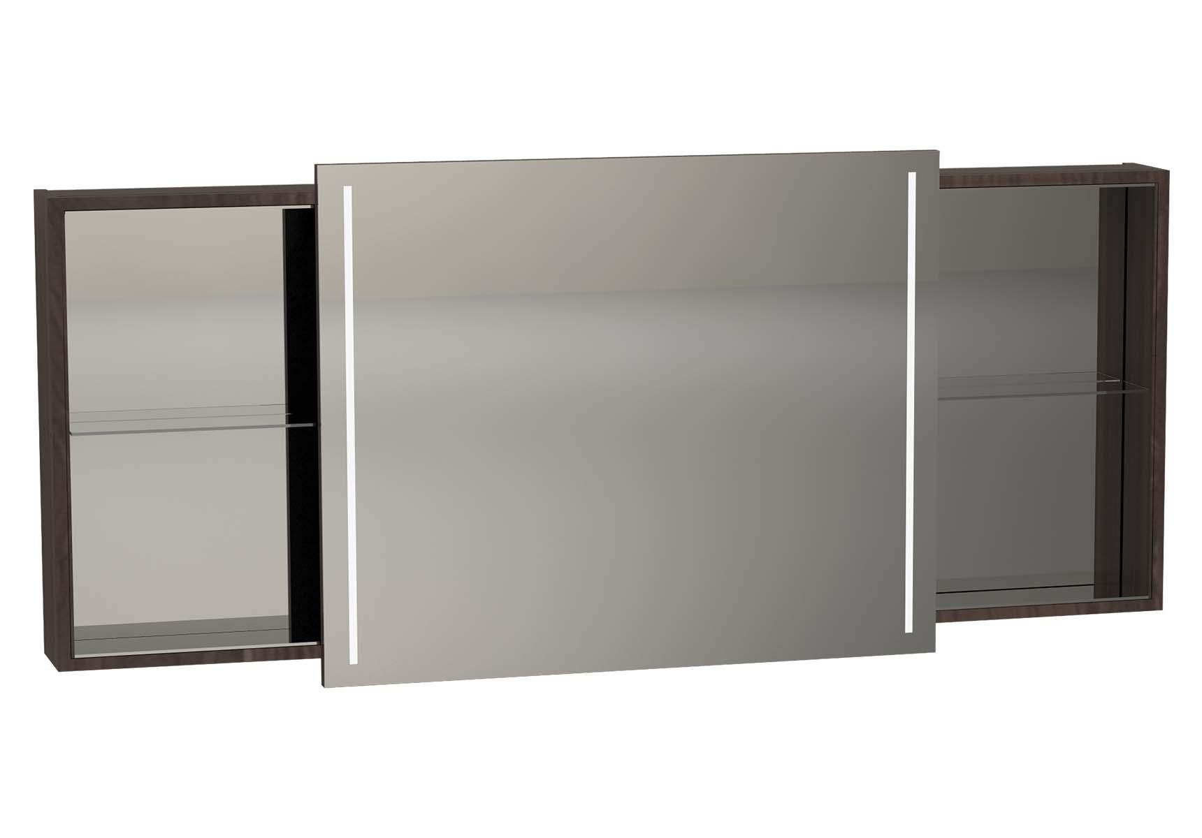 Memoria Illuminated Mirror Cabinet, 150 cm, Matte Walnut