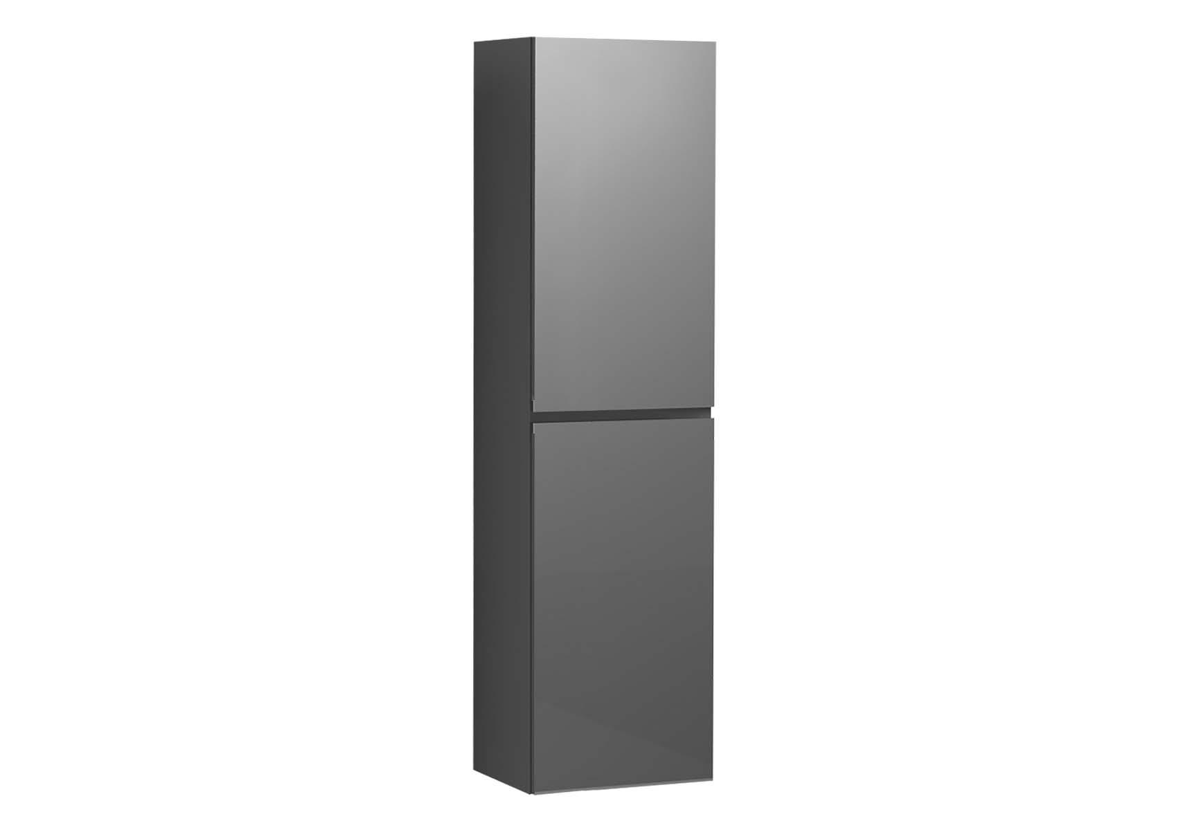 Memoria Tall Unit with Door, Grey High Gloss, Left
