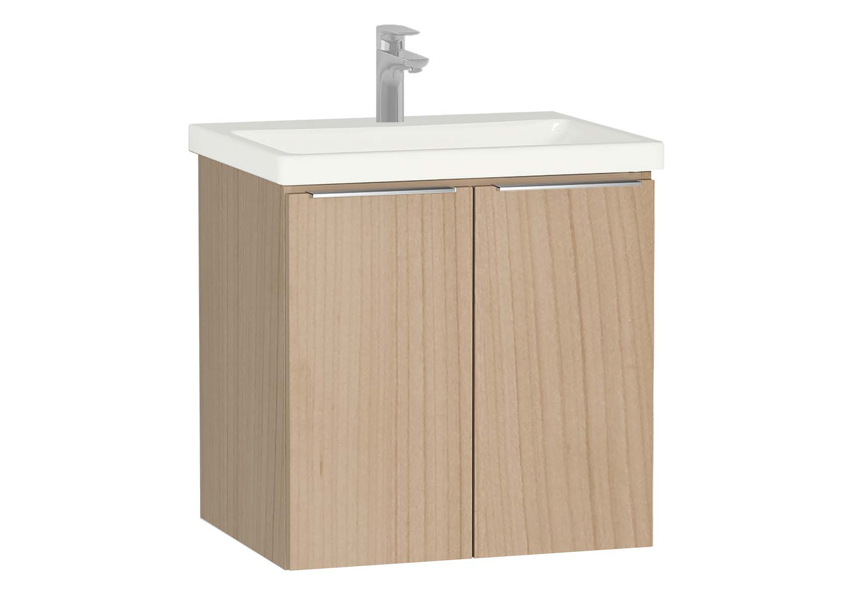 Central Washbasin Unit with doors, 60 cm, Golden Cherry, Ceramic Washbasin