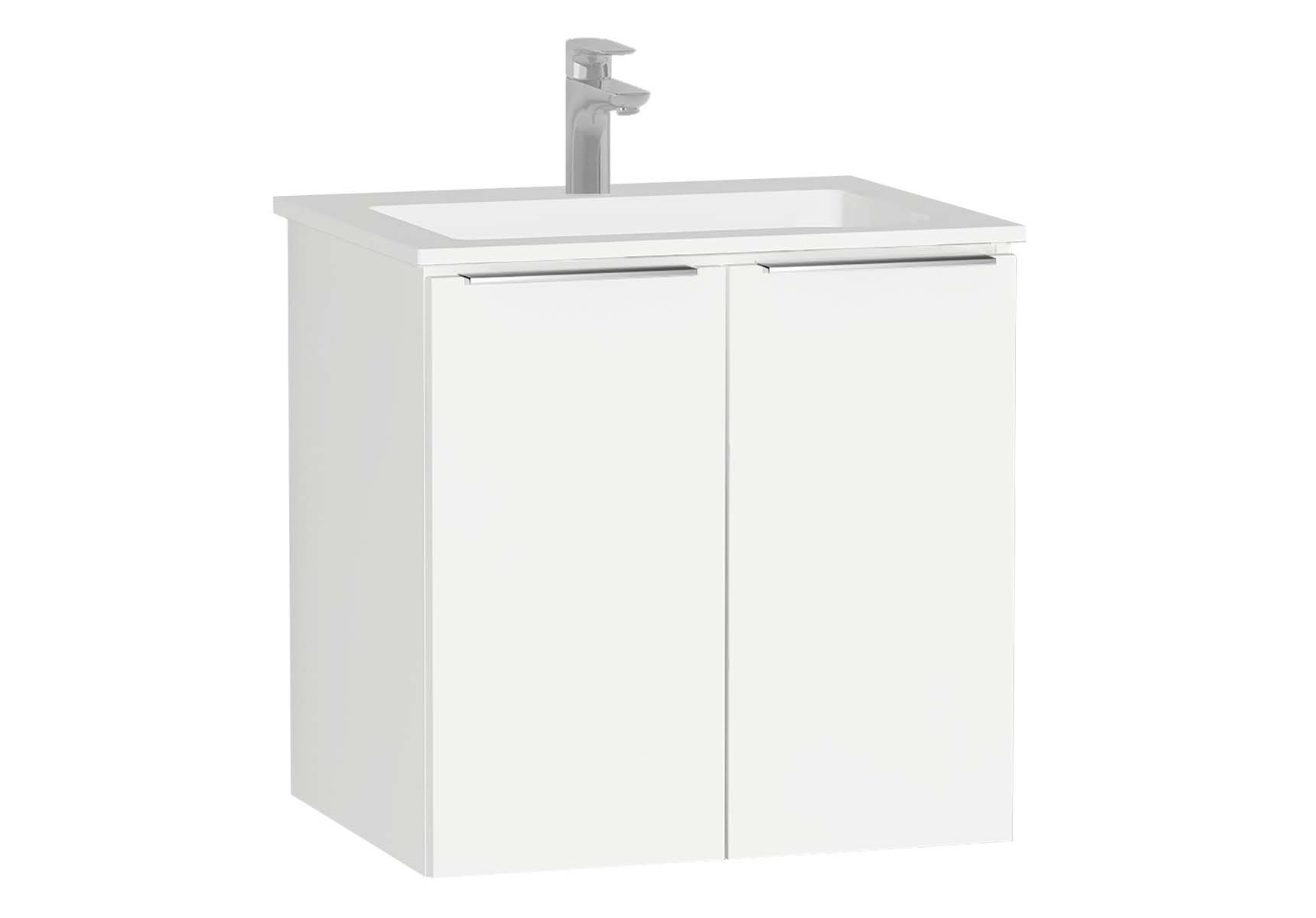 Central Washbasin Unit with doors, 60 cm, White High Gloss, Infinit Washbasin