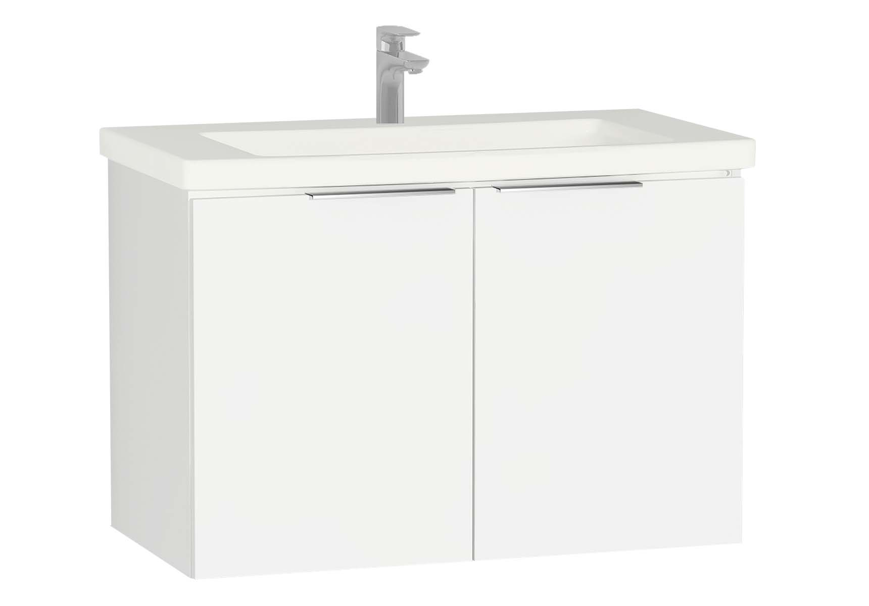 Central Washbasin Unit with doors, 90 cm, White High Gloss, Ceramic Washbasin