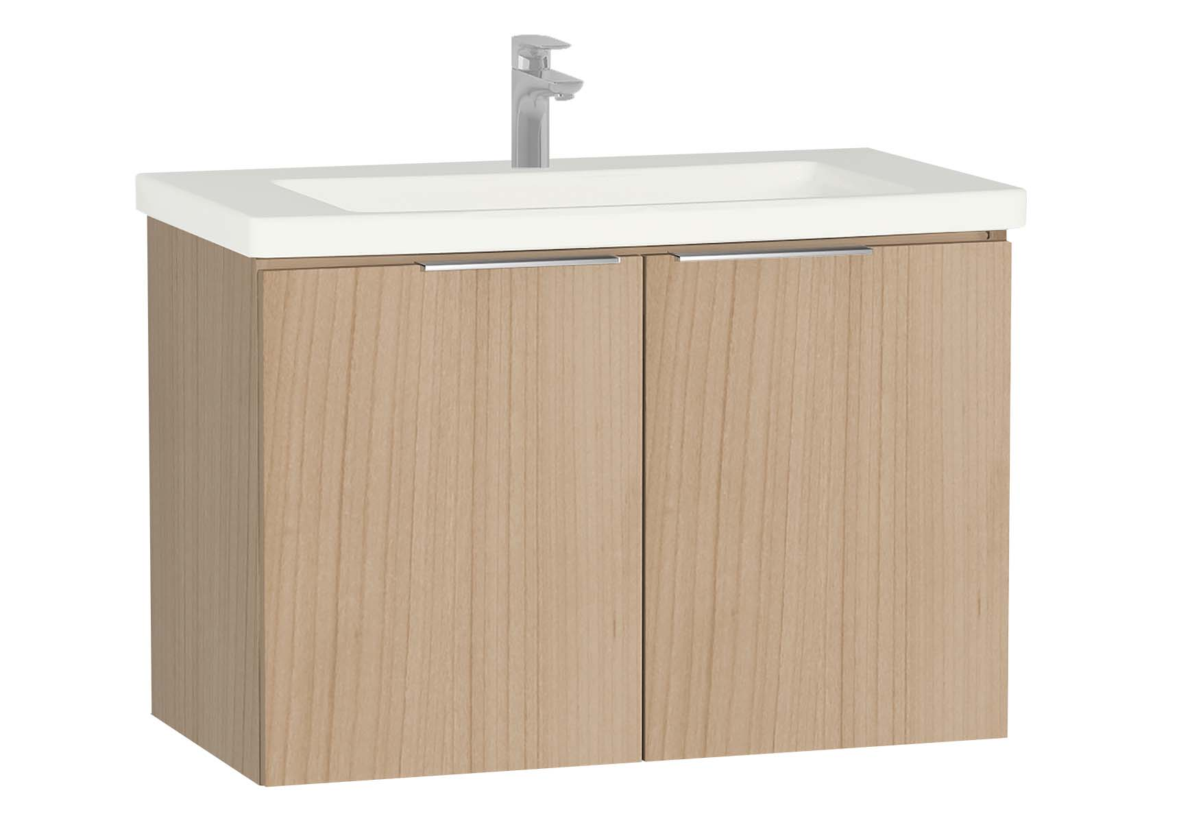 Central Washbasin Unit with doors, 90 cm, Golden Cherry, Ceramic Washbasin