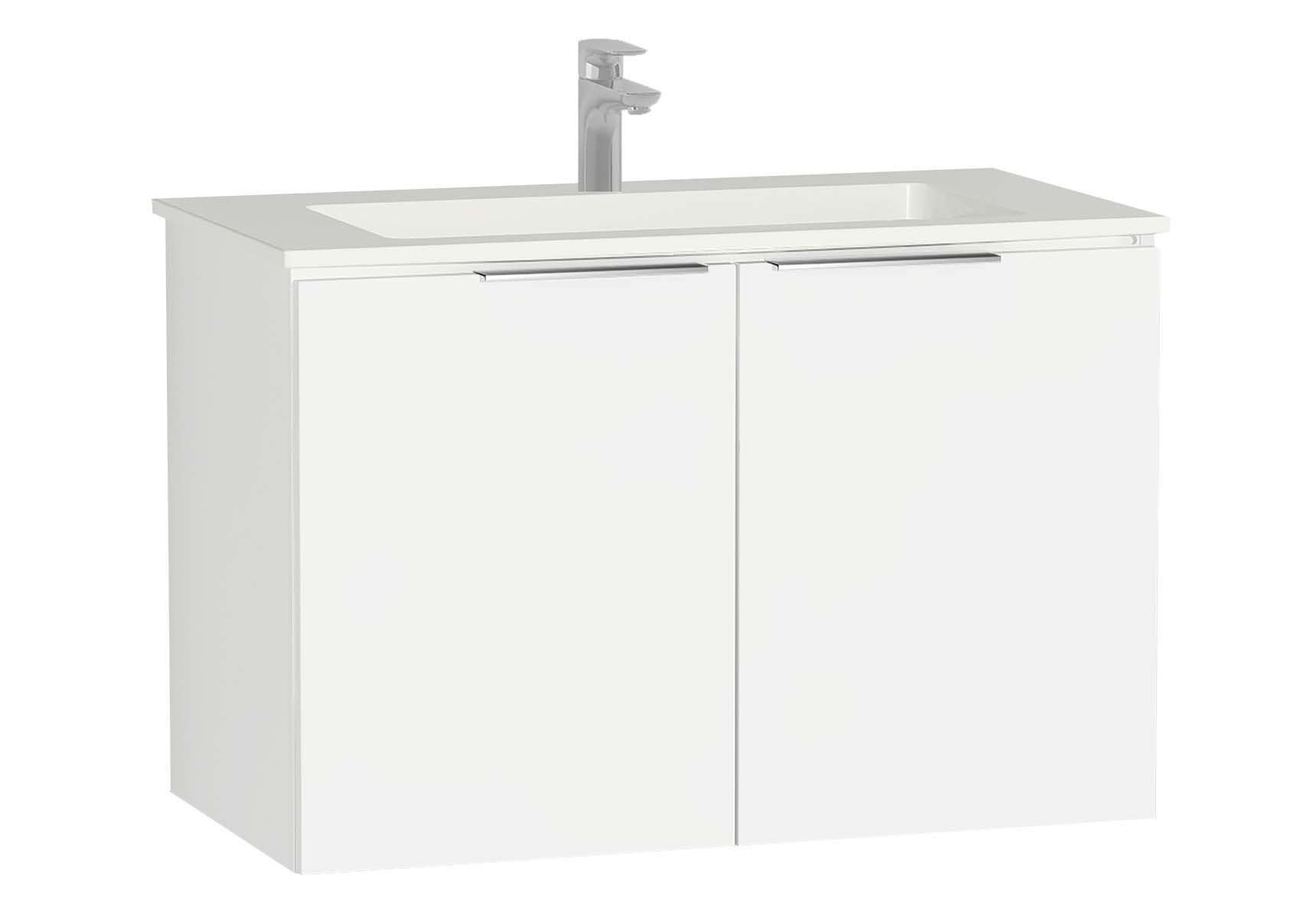 Central Washbasin Unit with doors, 90 cm, White High Gloss, Infinit Washbasin