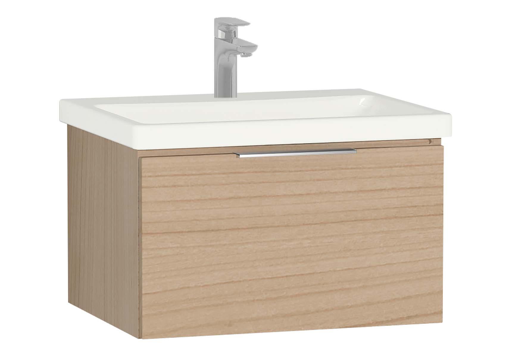 Central Washbasin Unit with 1 drawer, 60 cm, Golden Cherry, Ceramic Washbasin