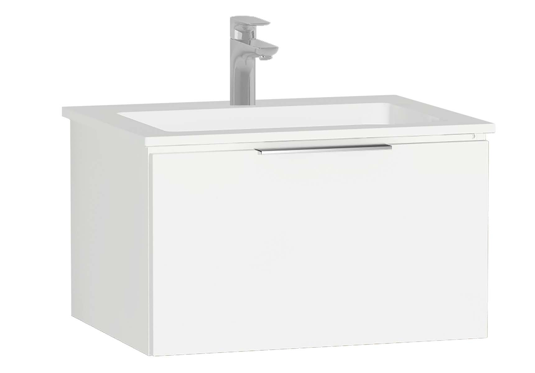 Central Washbasin Unit with 1 drawer, 60 cm, White High Gloss, Infinit Washbasin