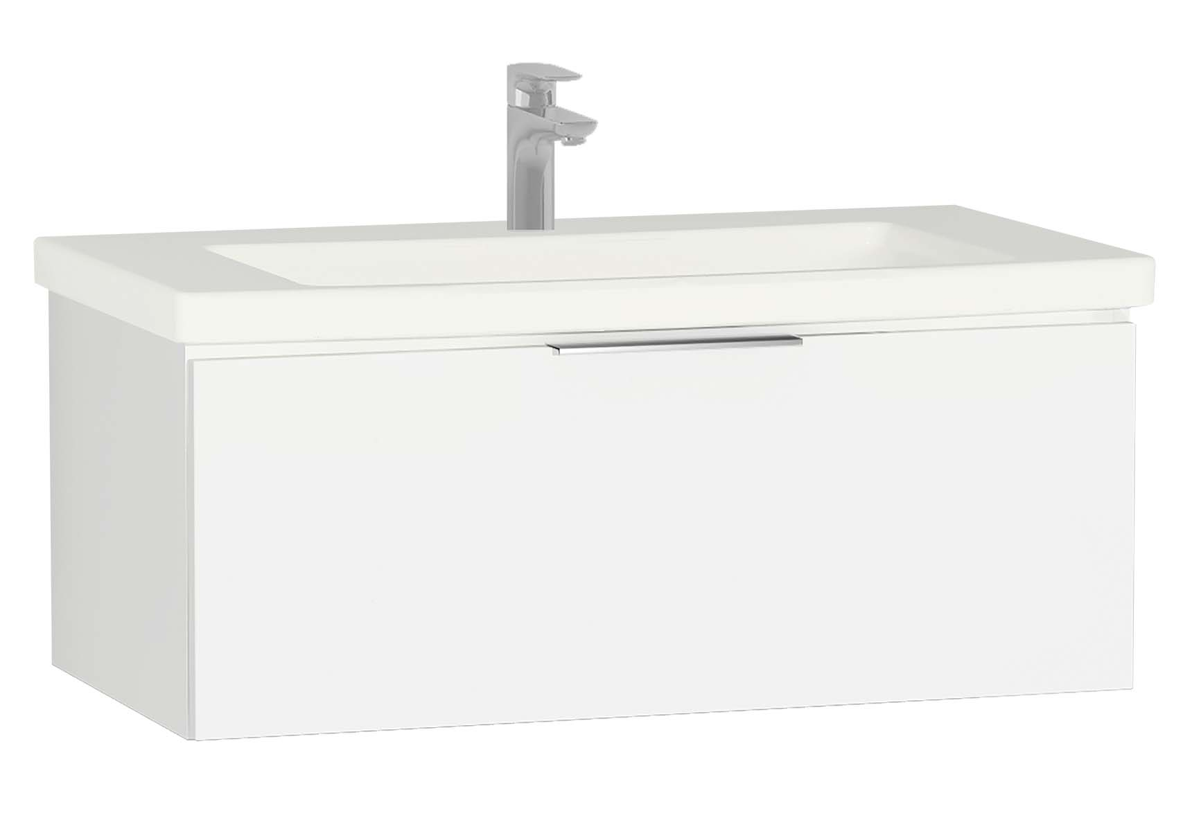 Central Washbasin Unit with 1 drawer, 90 cm, White High Gloss, Ceramic Washbasin
