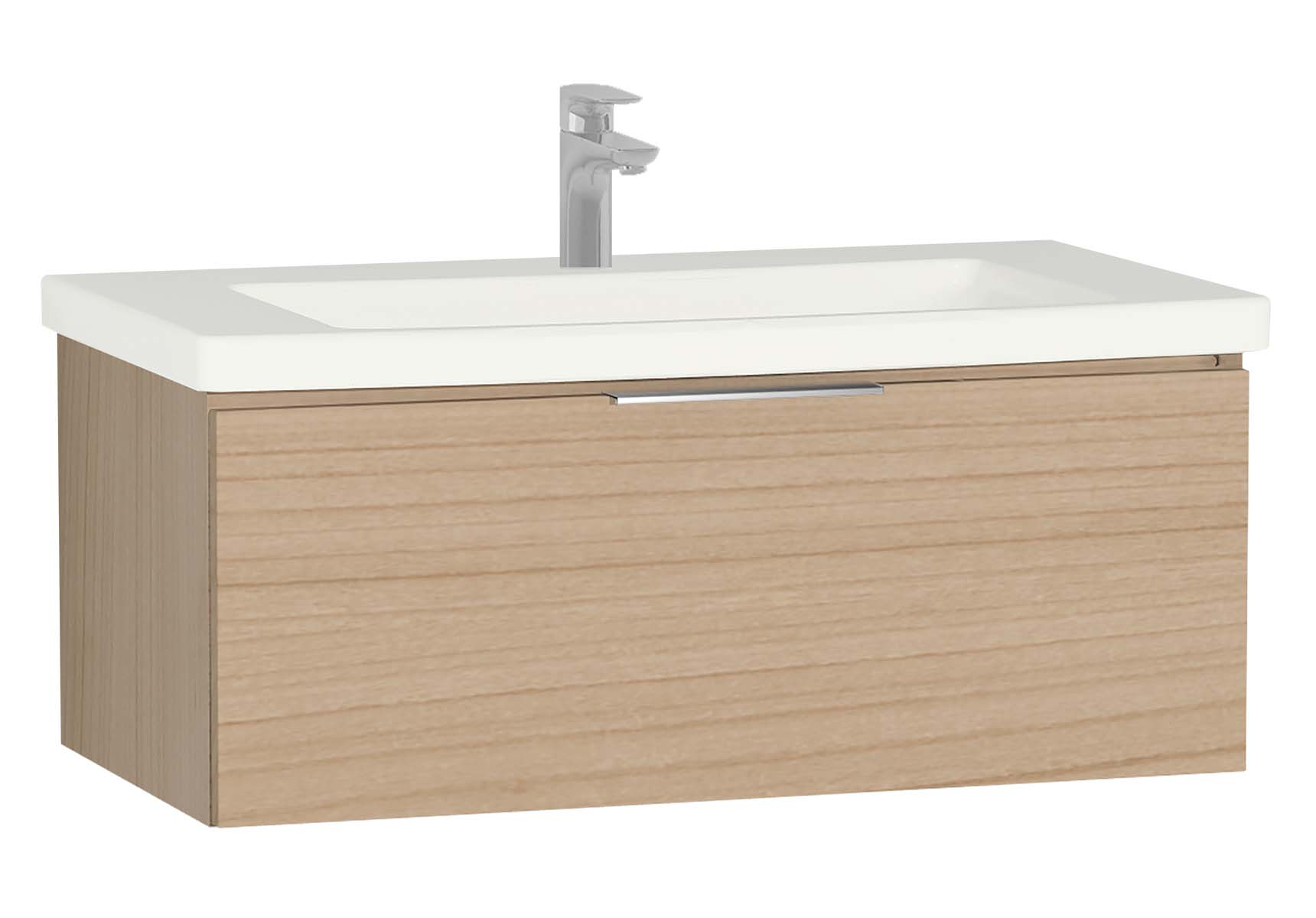 Central Washbasin Unit with 1 drawer, 90 cm, Golden Cherry, Ceramic Washbasin