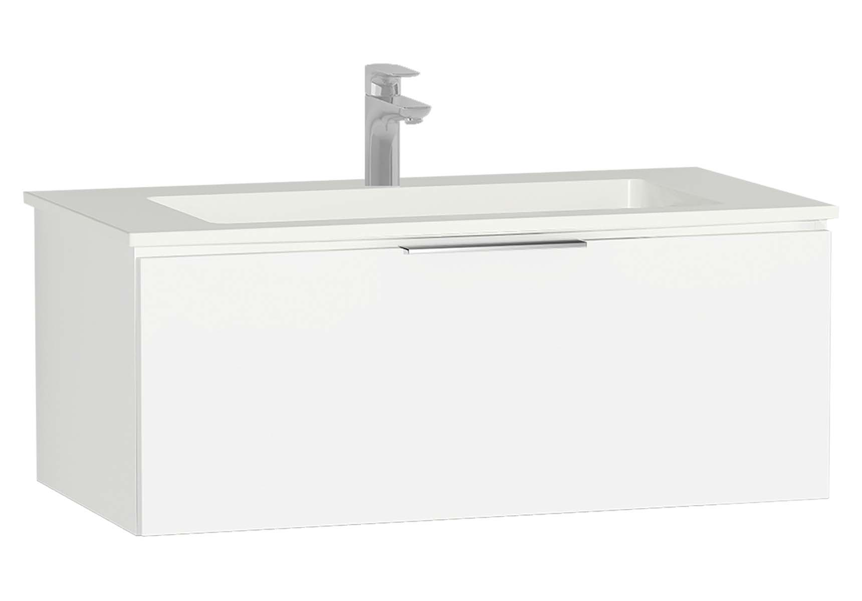 Central Washbasin Unit with 1 drawer, 90 cm, White High Gloss, Infinit Washbasin