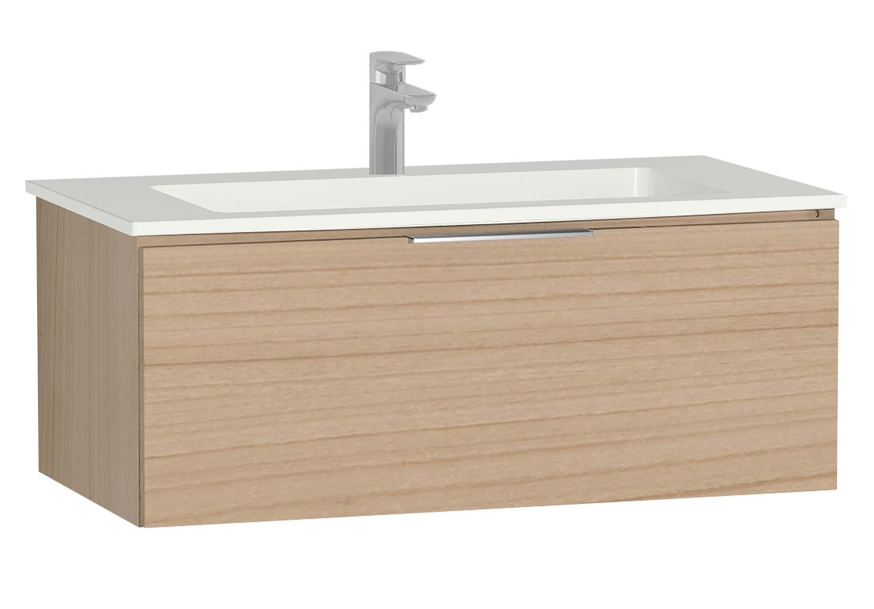 Central Washbasin Unit with 1 drawer, 90 cm, Golden Cherry, Infinit Washbasin