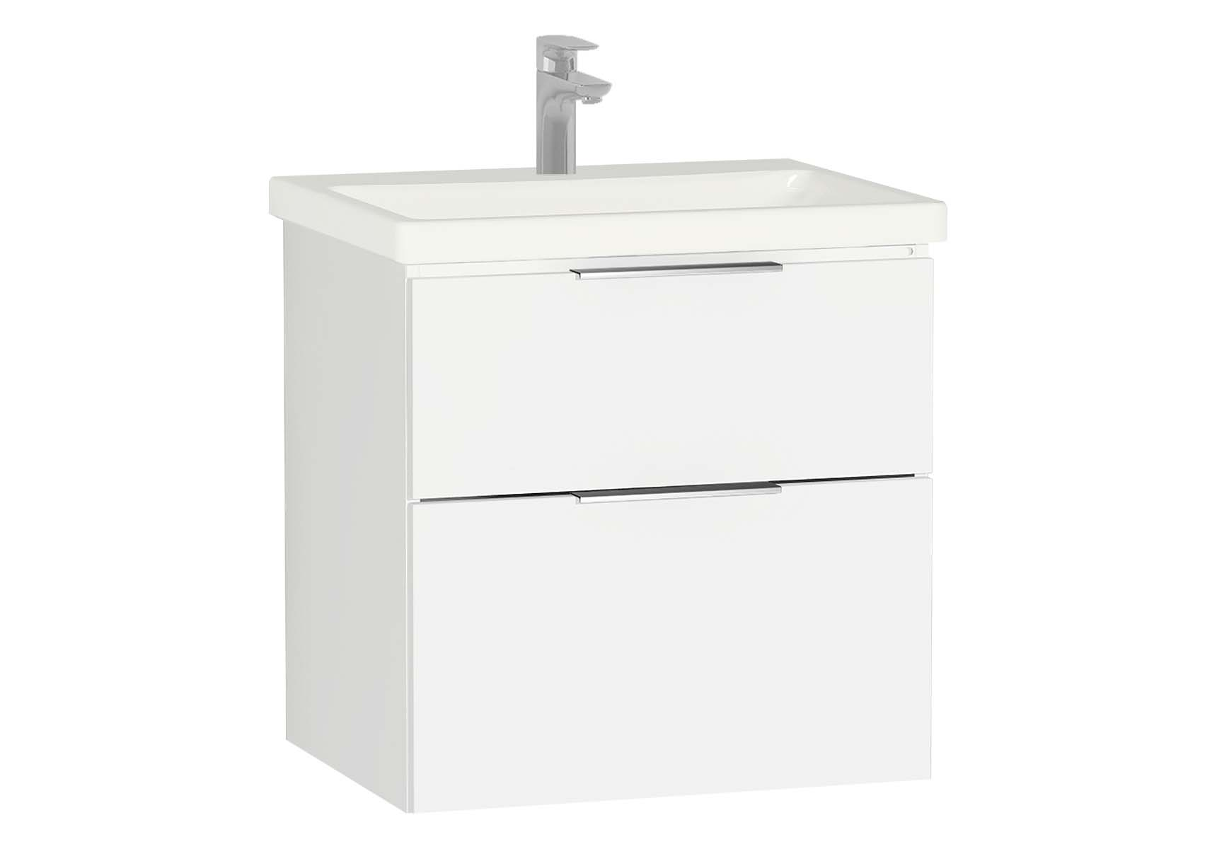 Central Washbasin Unit with 2 drawers, 60 cm, White High Gloss, Ceramic Washbasin