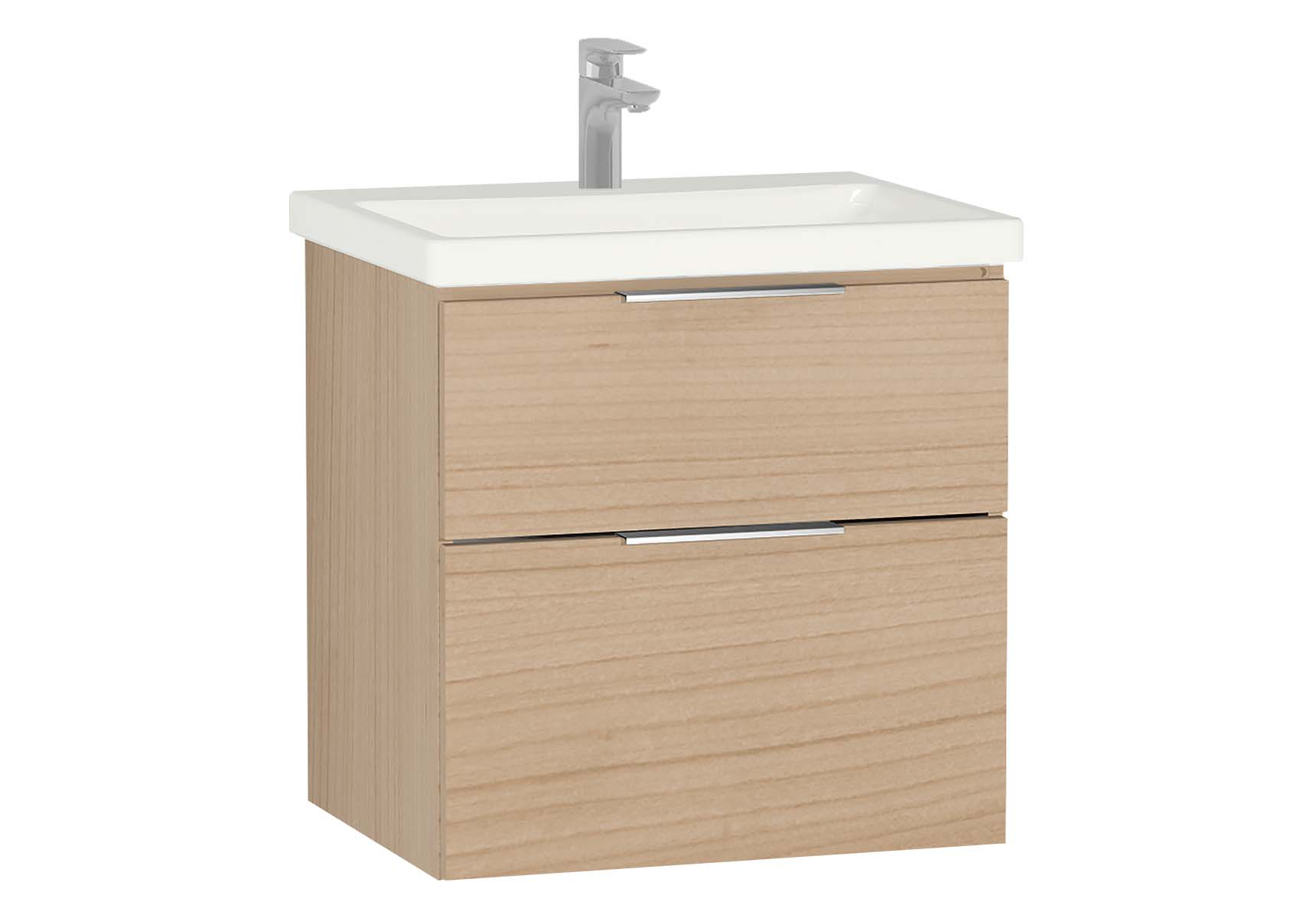 Central Washbasin Unit with 2 drawers, 60 cm, Golden Cherry, Ceramic Washbasin