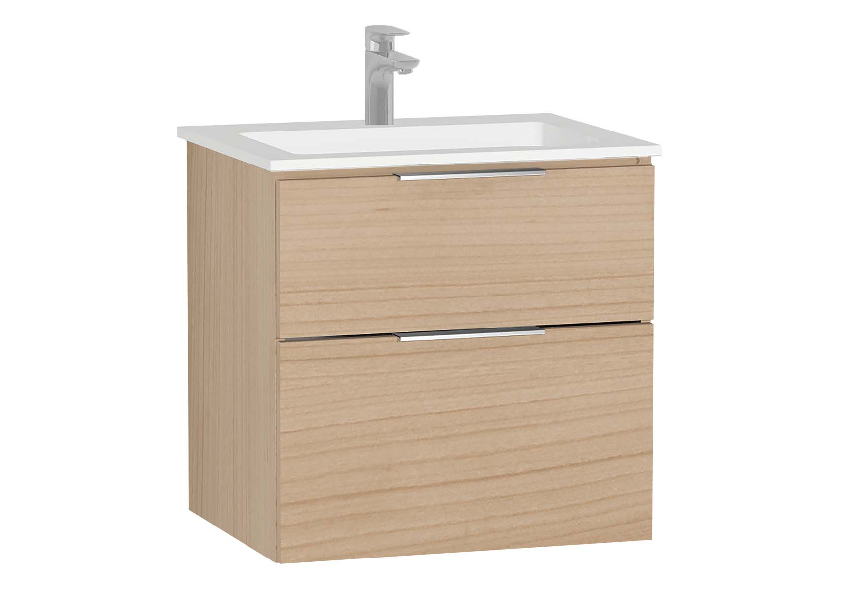 Central Washbasin Unit with 2 drawers, 60 cm, Golden Cherry, Infinit Washbasin