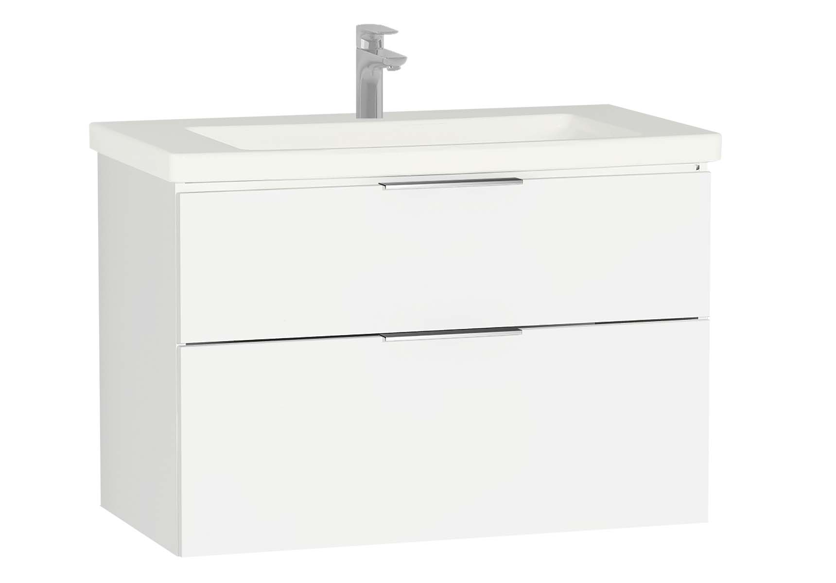 Central Washbasin Unit with 2 drawers, 90 cm, White High Gloss, Ceramic Washbasin