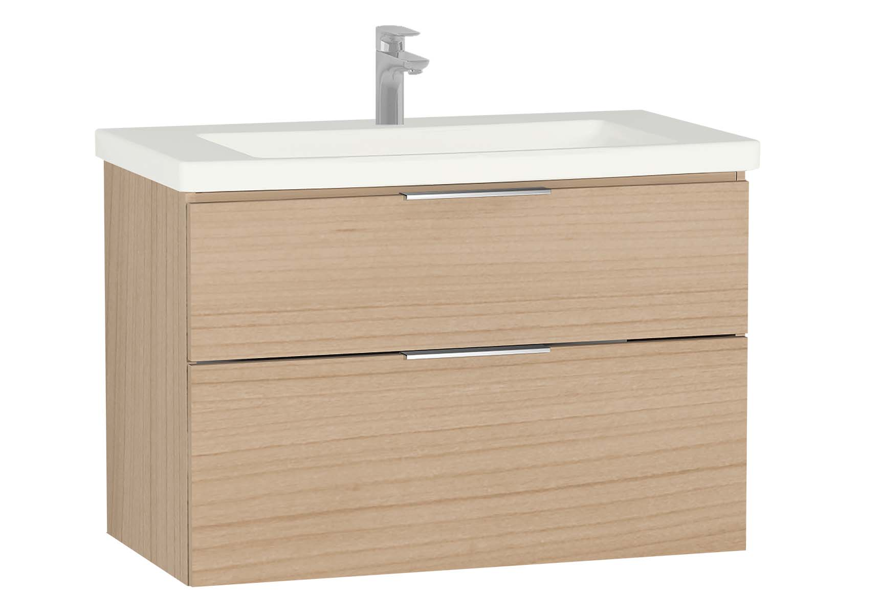 Central Washbasin Unit with 2 drawers, 90 cm, Golden Cherry, Ceramic Washbasin