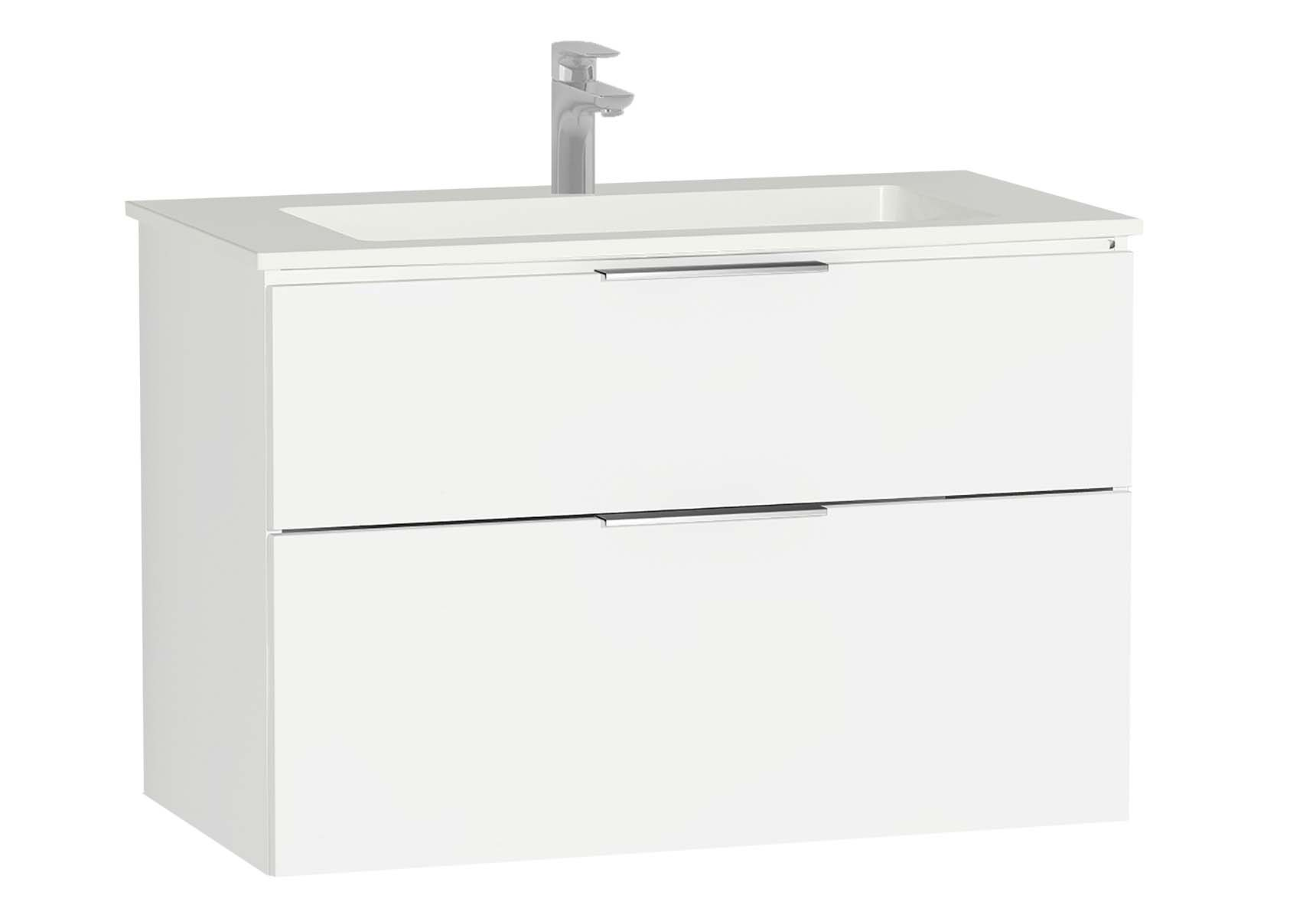 Central Washbasin Unit with 2 drawers, 90 cm, White High Gloss, Infinit Washbasin