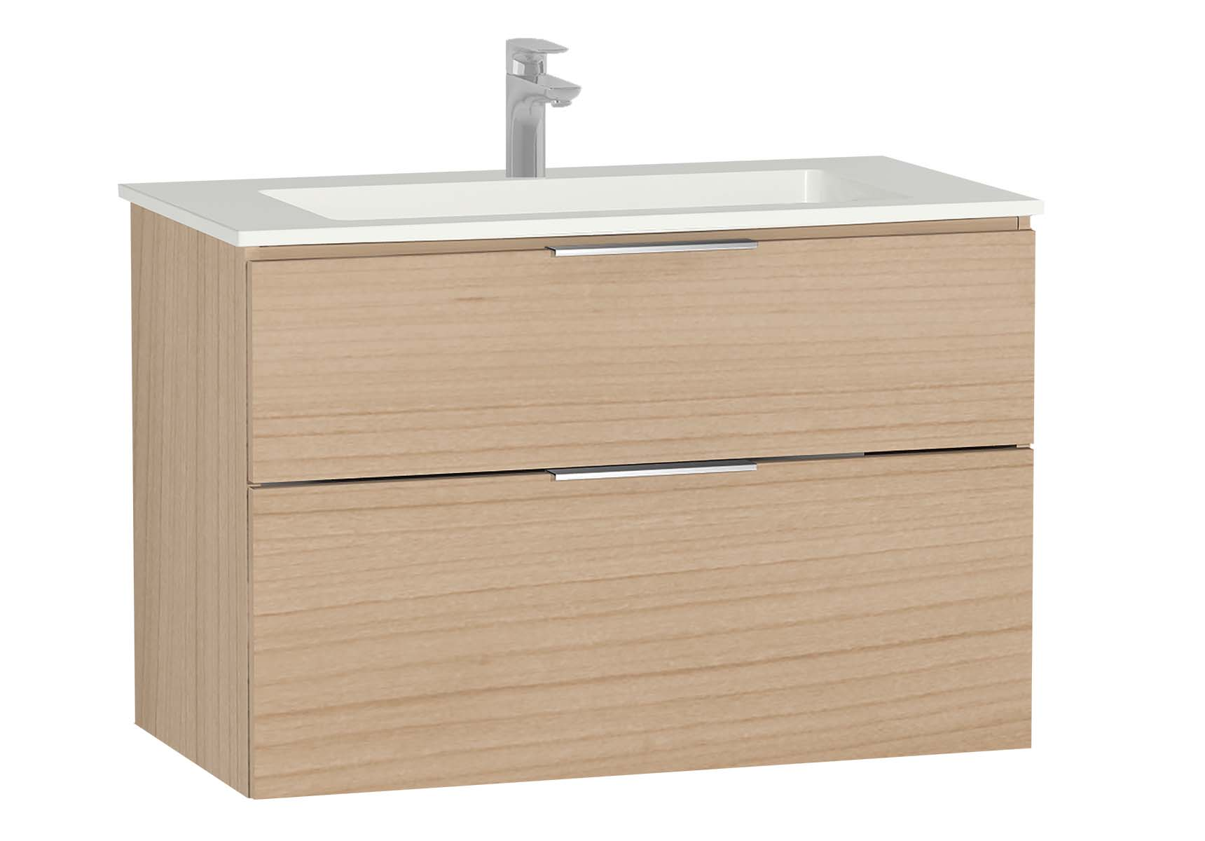 Central Washbasin Unit with 2 drawers, 90 cm, Golden Cherry, Infinit Washbasin