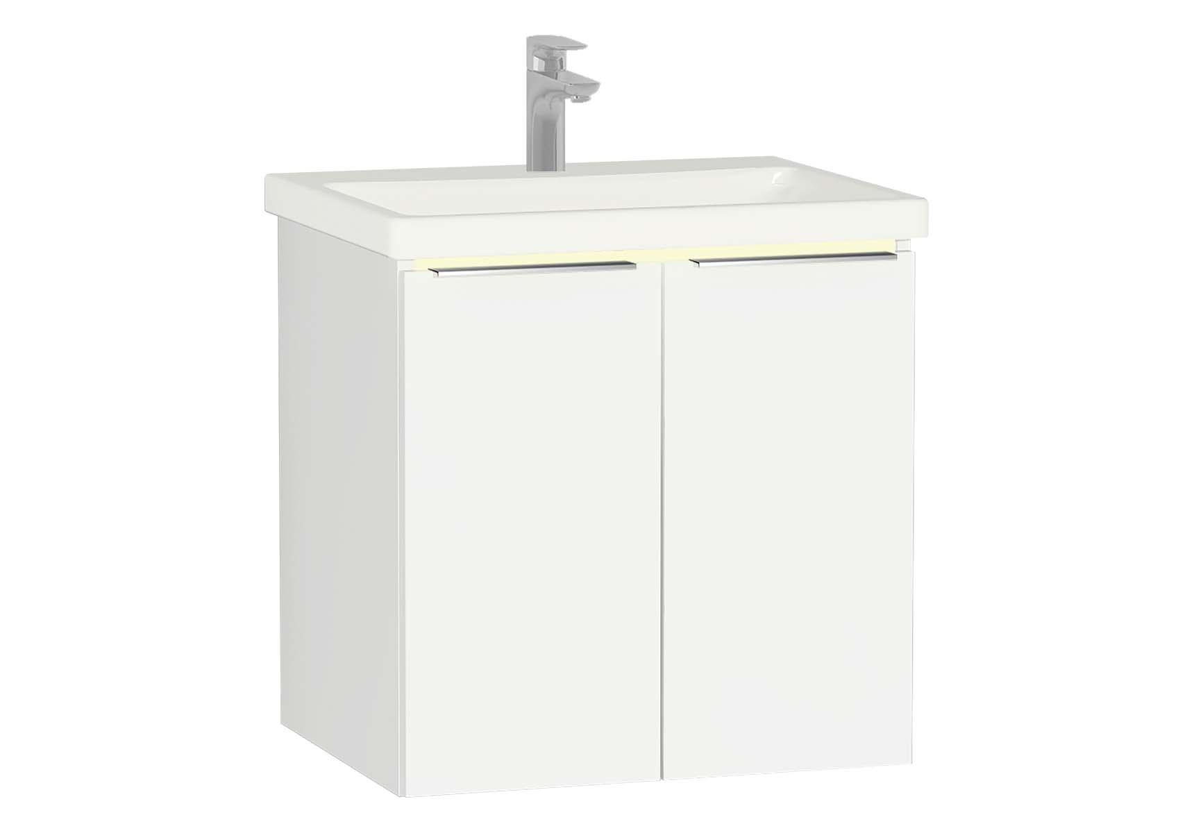 Central Washbasin Unit with doors, 60 cm, White High Gloss, Ceramic Washbasin, Led