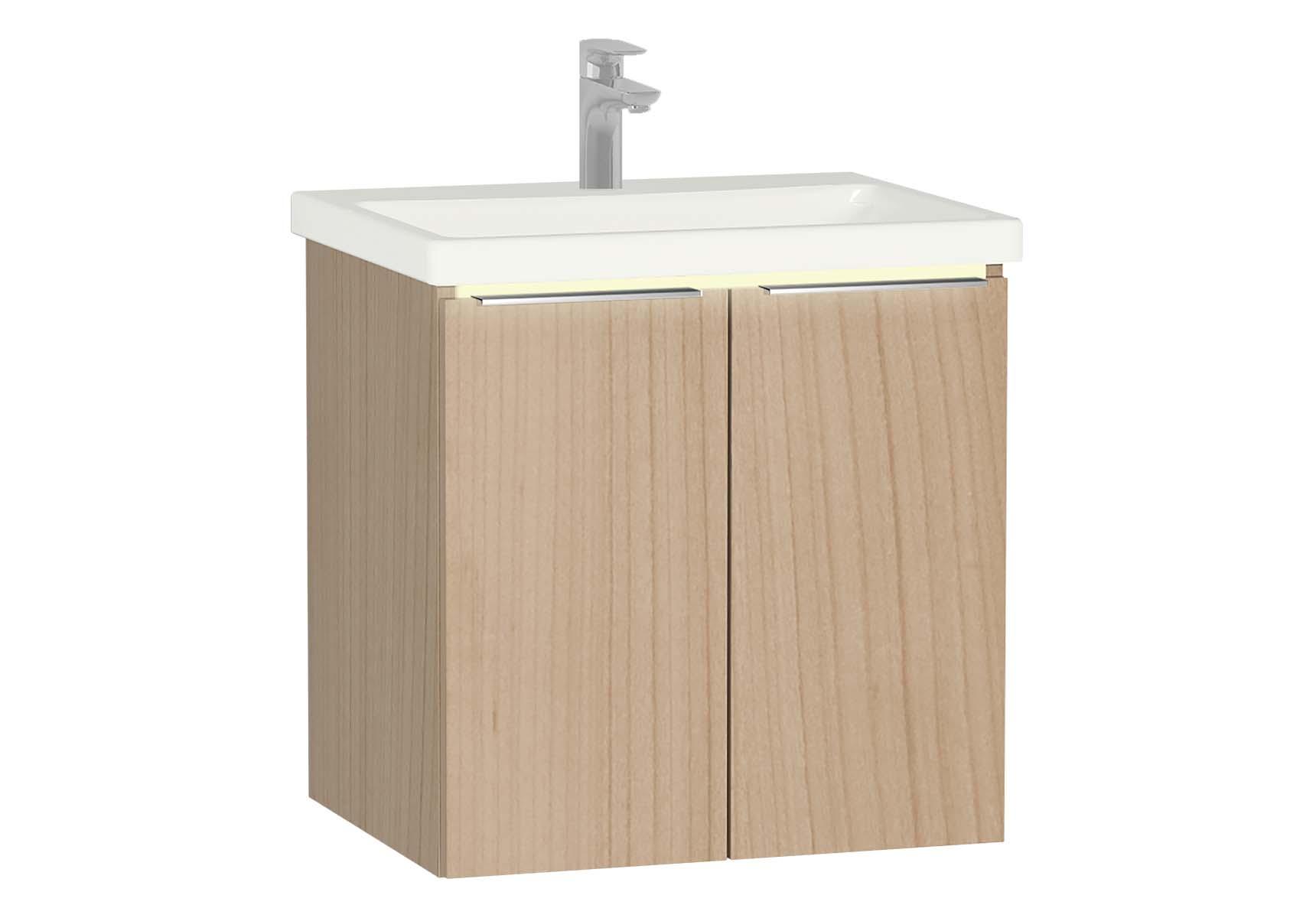 Central Washbasin Unit with doors, 60 cm, Golden Cherry, Ceramic Washbasin, Led