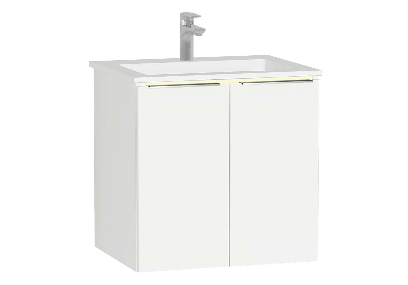 Central Washbasin Unit with doors, 60 cm, White High Gloss, Infinit Washbasin, Led