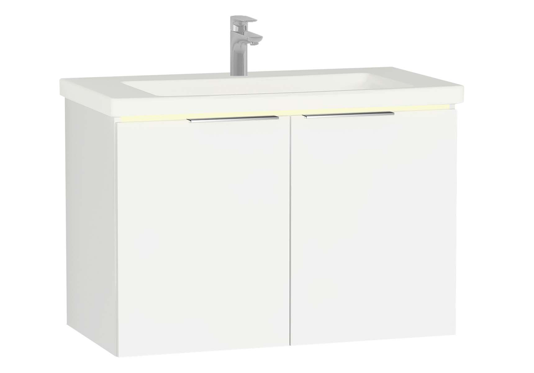 Central Washbasin Unit with doors, 90 cm, White High Gloss, Ceramic Washbasin, Led