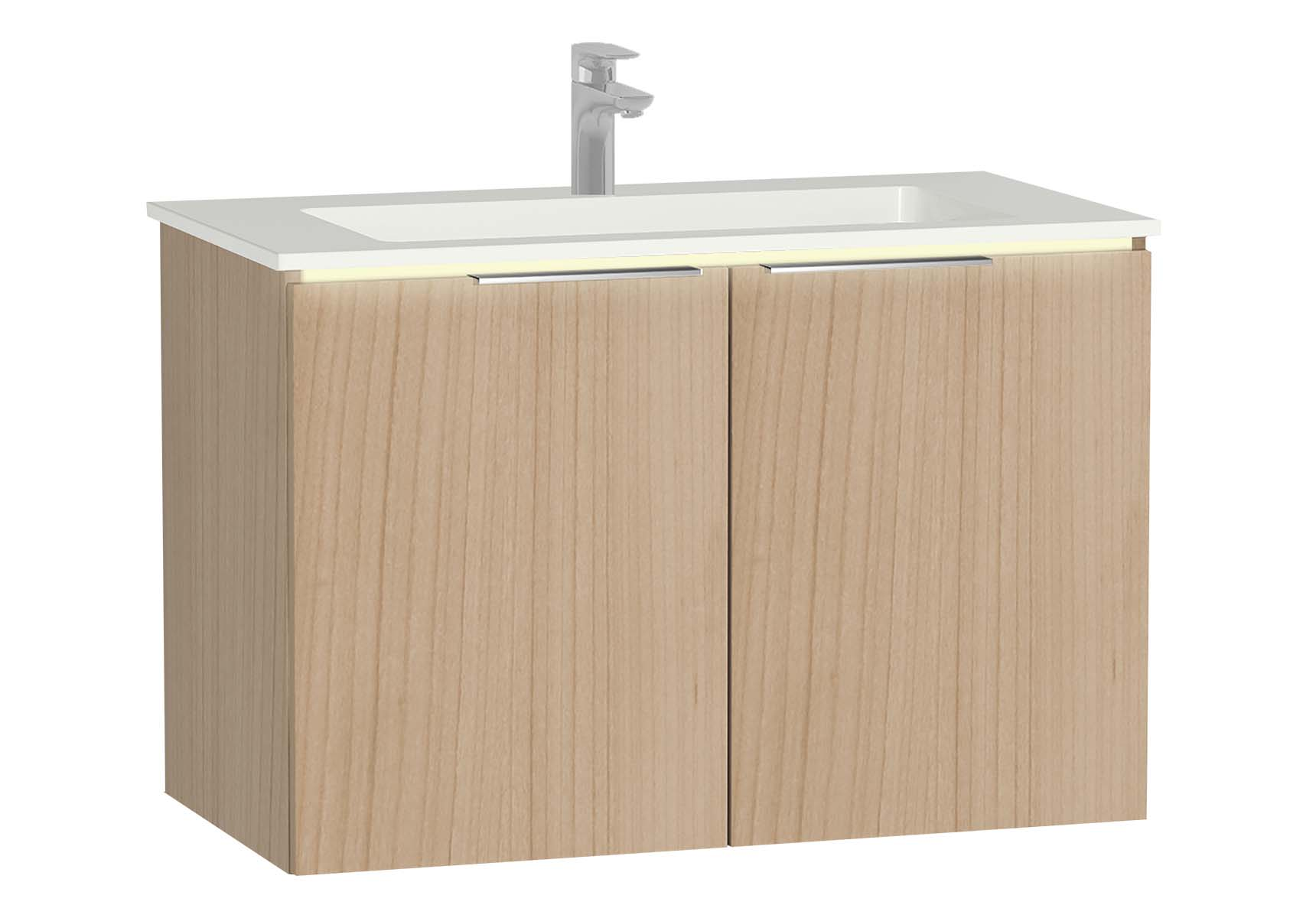 Central Washbasin Unit with doors, 90 cm, Golden Cherry, Infinit Washbasin, Led