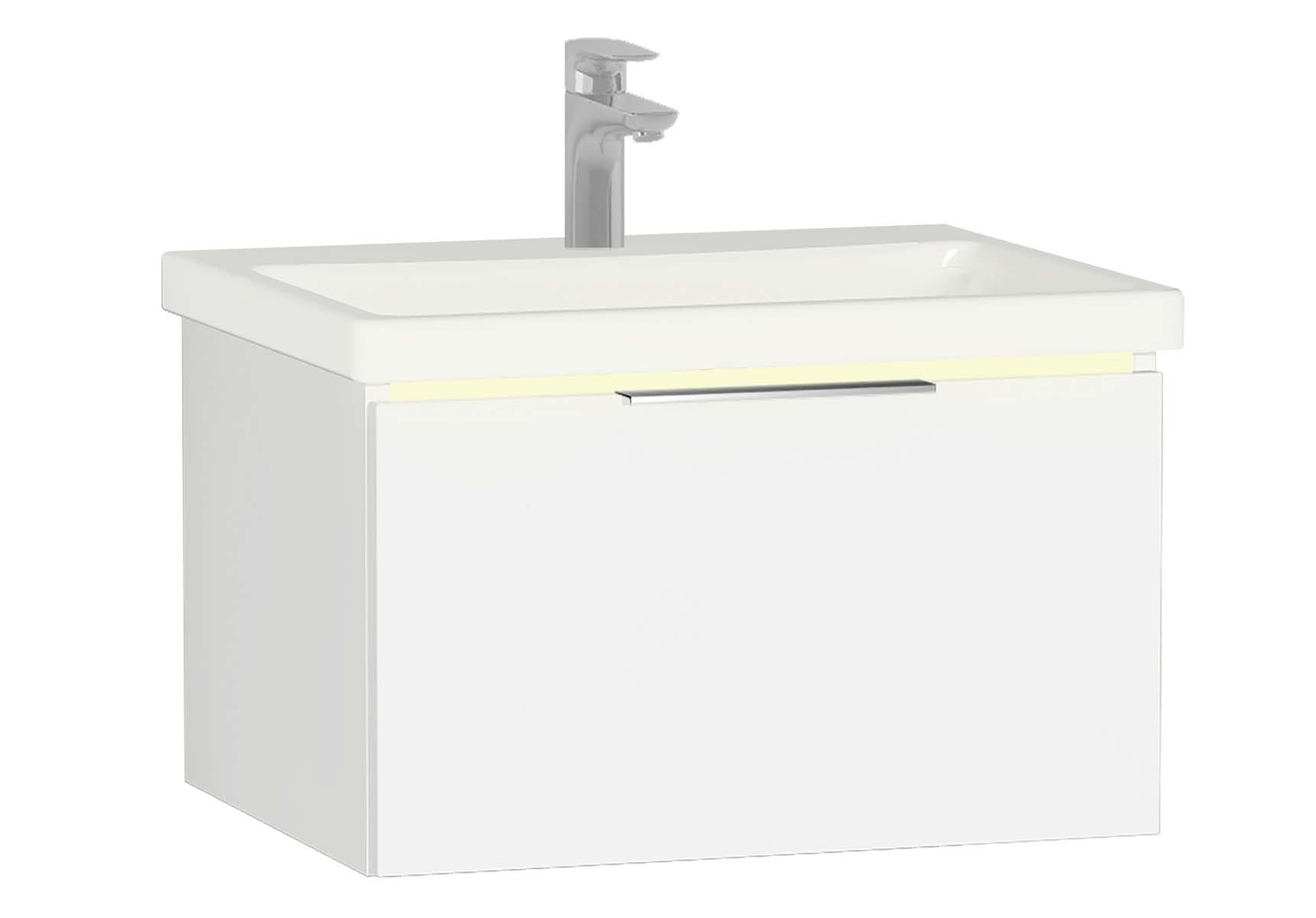 Central Washbasin Unit with 1 drawer, 60 cm, White High Gloss, Ceramic Washbasin, Led