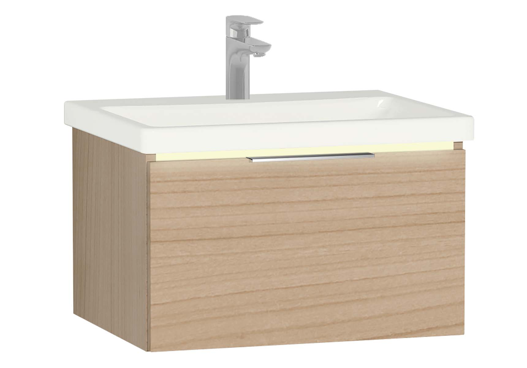 Central Washbasin Unit with 1 drawer, 60 cm, Golden Cherry, Ceramic Washbasin, Led