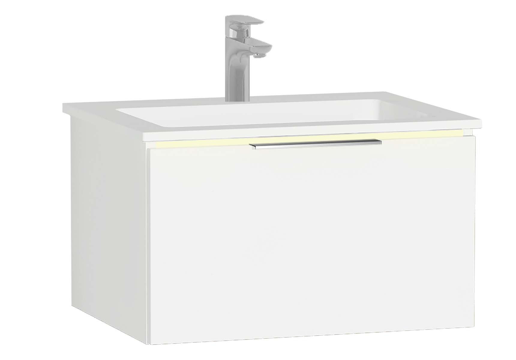 Central Washbasin Unit with 1 drawer, 60 cm, White High Gloss, Infinit Washbasin, Led