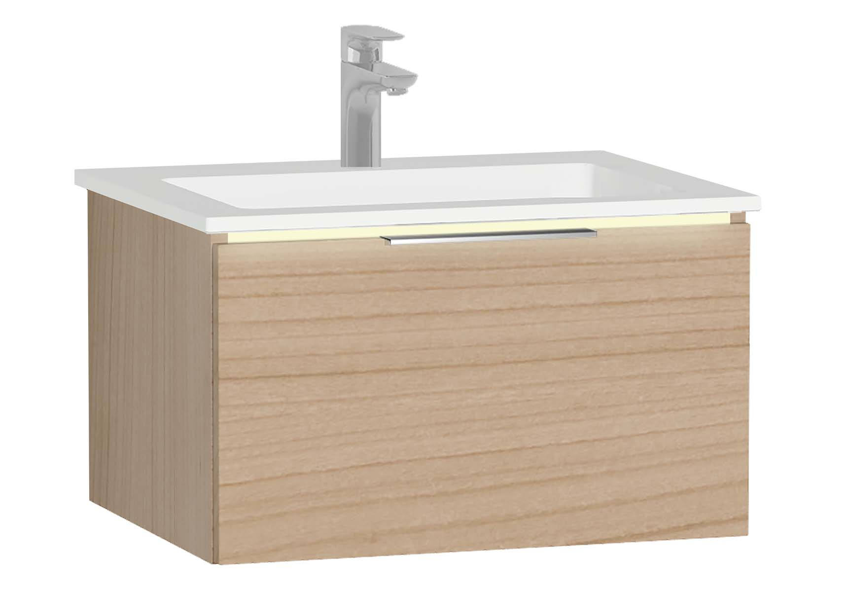 Central Washbasin Unit with 1 drawer, 60 cm, Golden Cherry, Infinit Washbasin, Led
