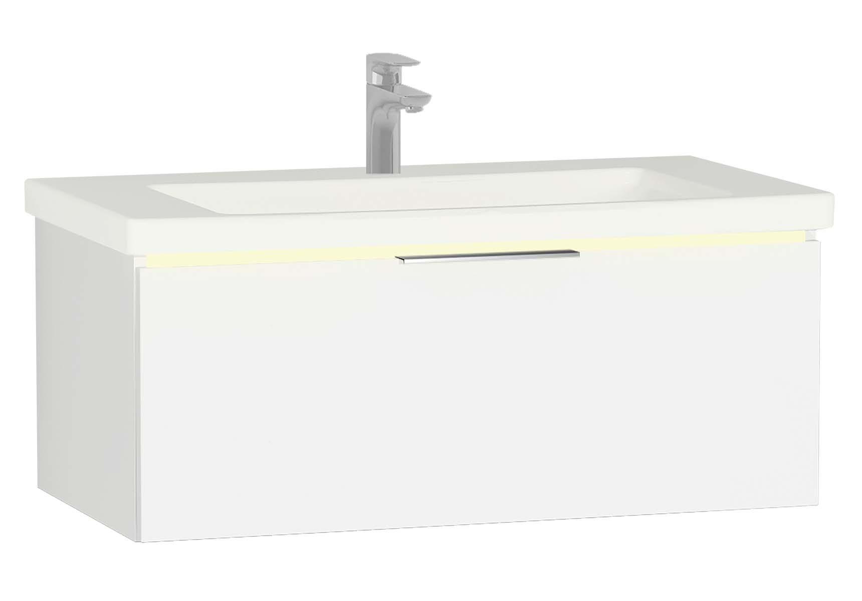 Central Washbasin Unit with 1 drawer, 90 cm, White High Gloss, Ceramic Washbasin, Led