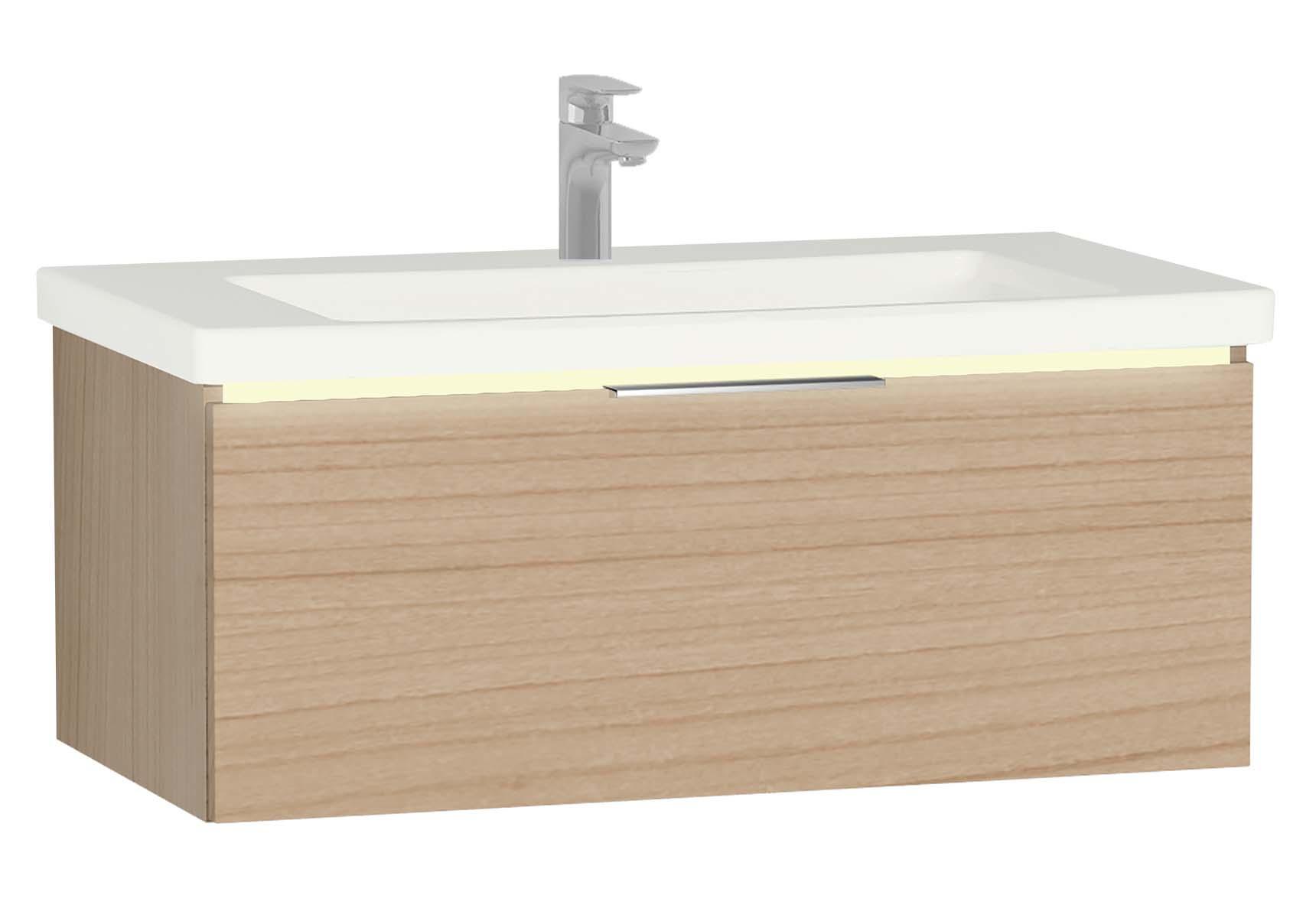 Central Washbasin Unit with 1 drawer, 90 cm, Golden Cherry, Ceramic Washbasin, Led