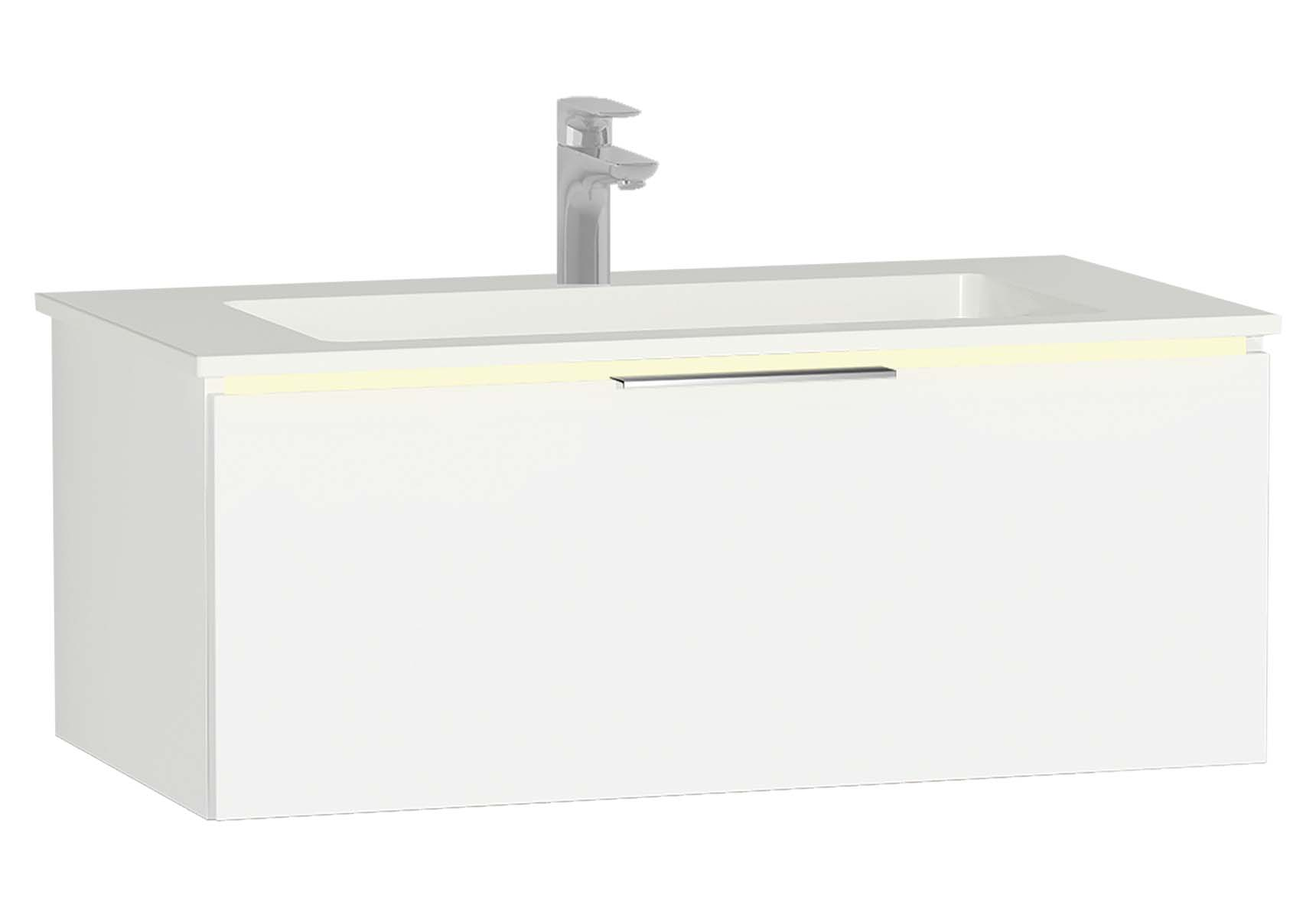Central Washbasin Unit with 1 drawer, 90 cm, White High Gloss, Infinit Washbasin, Led