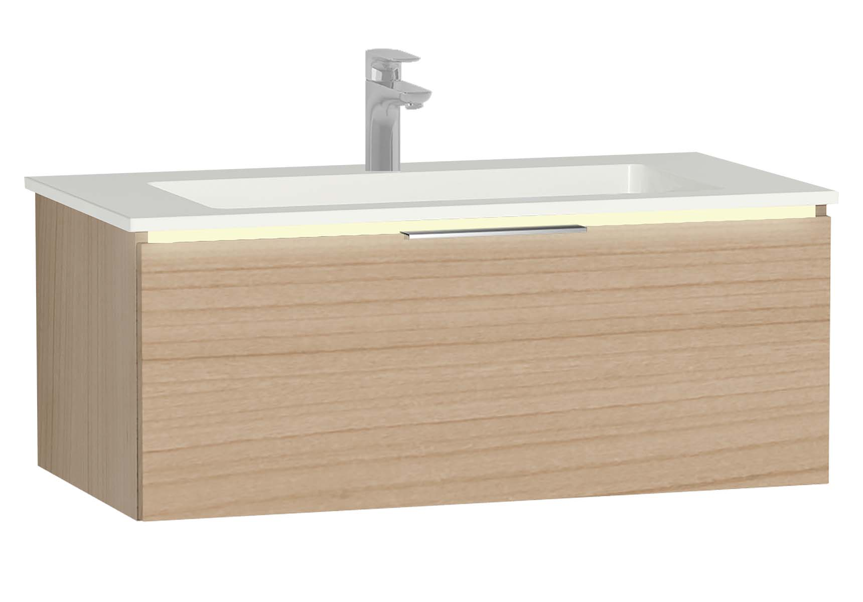 Central Washbasin Unit with 1 drawer, 90 cm, Golden Cherry, Infinit Washbasin, Led