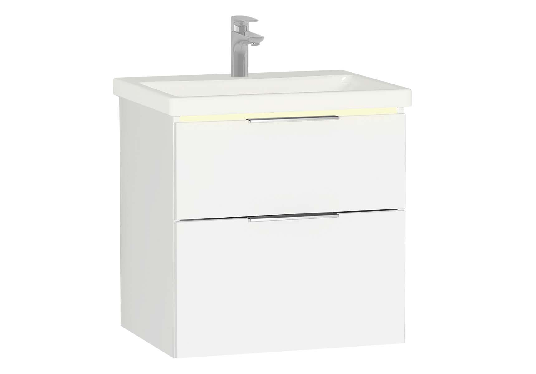 Central Washbasin Unit with 2 drawers, 60 cm, White High Gloss, Ceramic Washbasin, Led