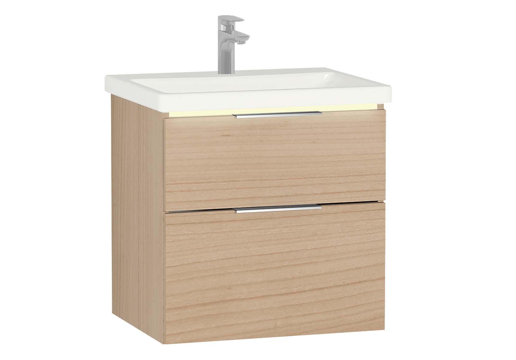 Central Washbasin Unit with 2 drawers, 60 cm, Golden Cherry, Ceramic Washbasin, Led