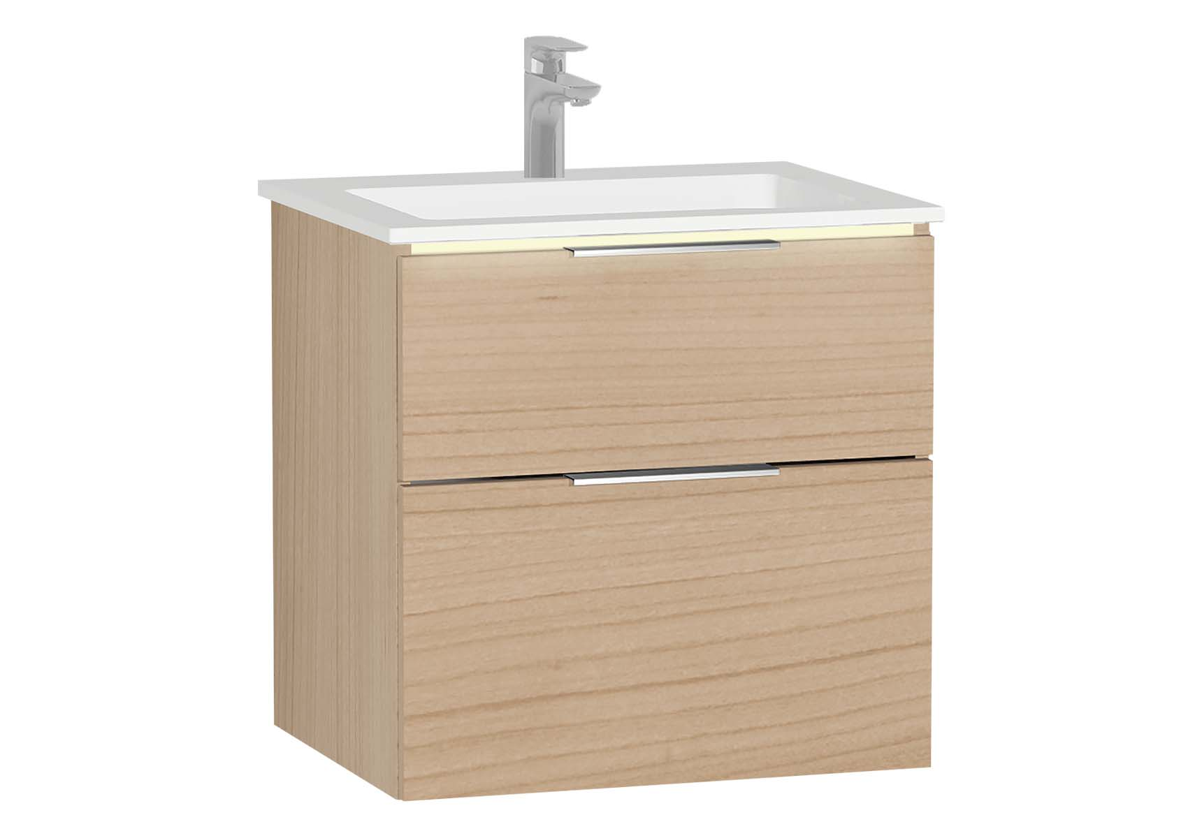 Central Washbasin Unit with 2 drawers, 60 cm, White High Gloss, Infinit Washbasin, Led