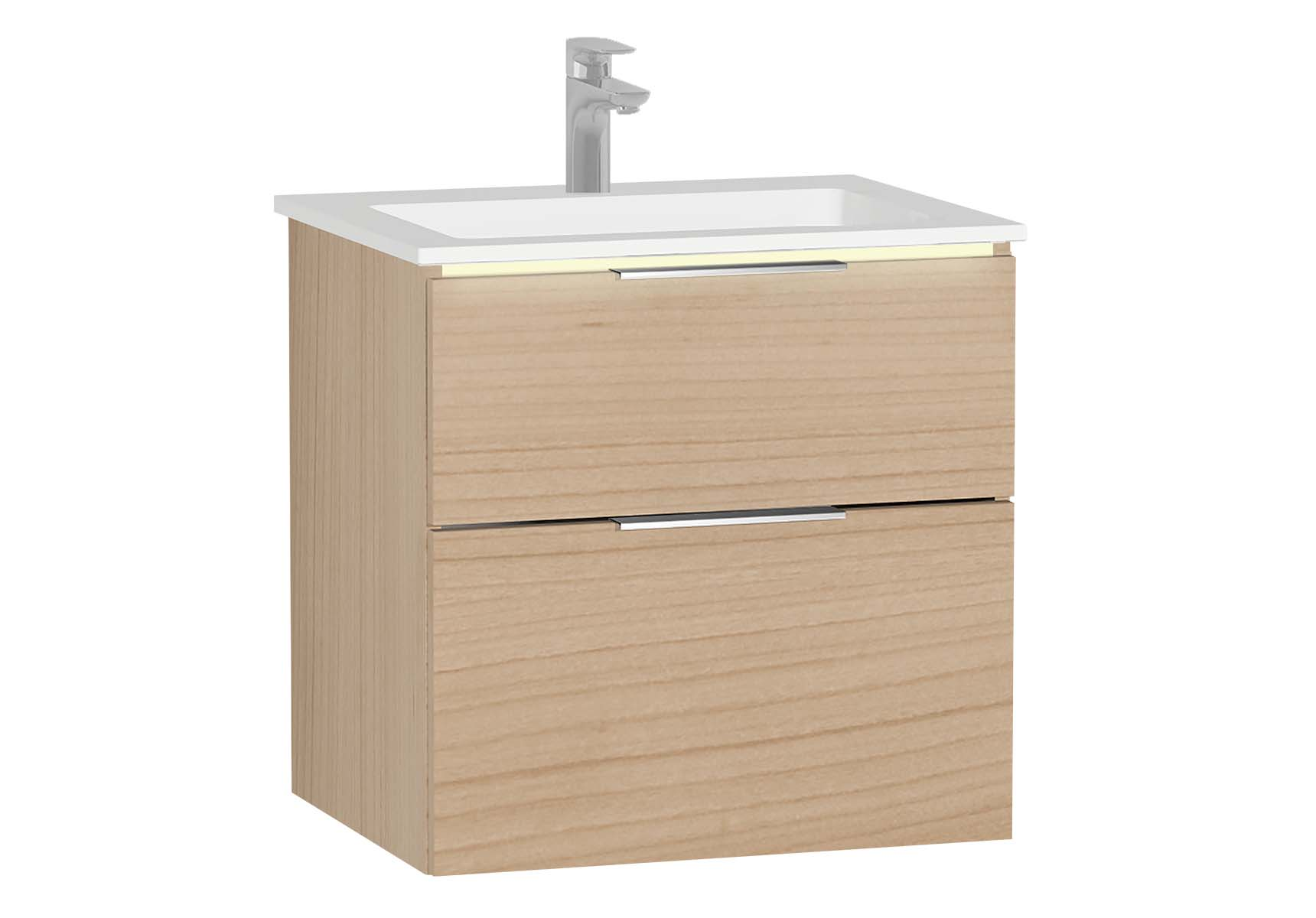 Central Washbasin Unit with 2 drawers, 60 cm, Golden Cherry, Infinit Washbasin, Led