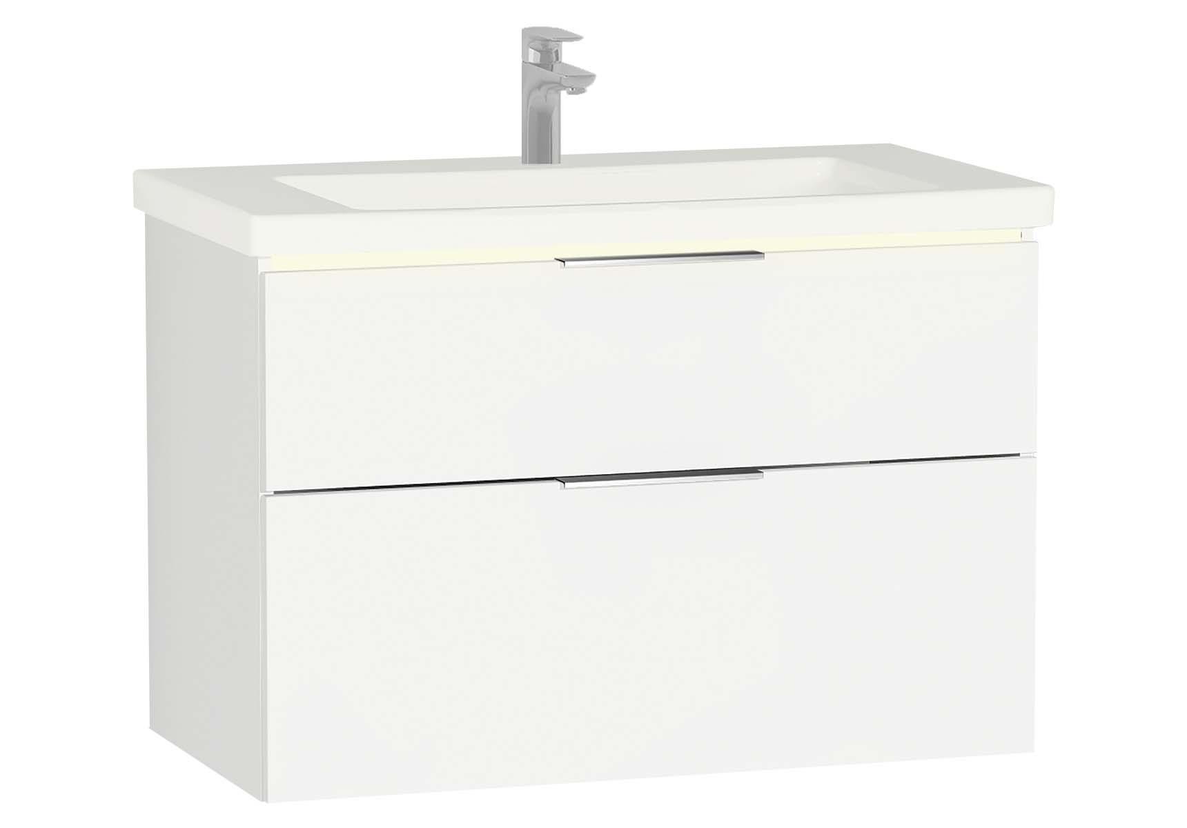 Central Washbasin Unit with 2 drawers, 90 cm, White High Gloss, Ceramic Washbasin, Led