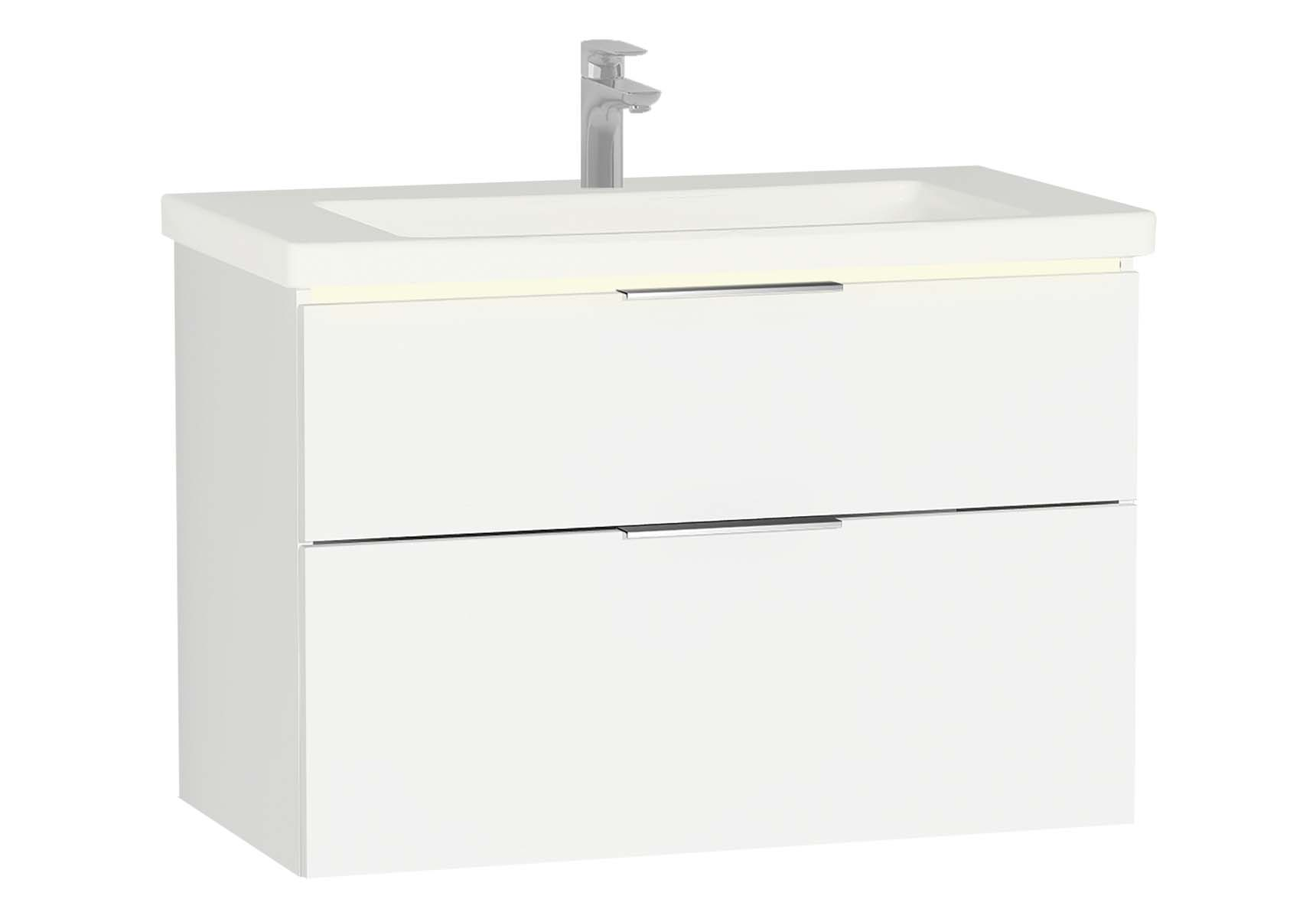 Central Washbasin Unit with 2 drawers, 90 cm, Golden Cherry, Ceramic Washbasin, Led