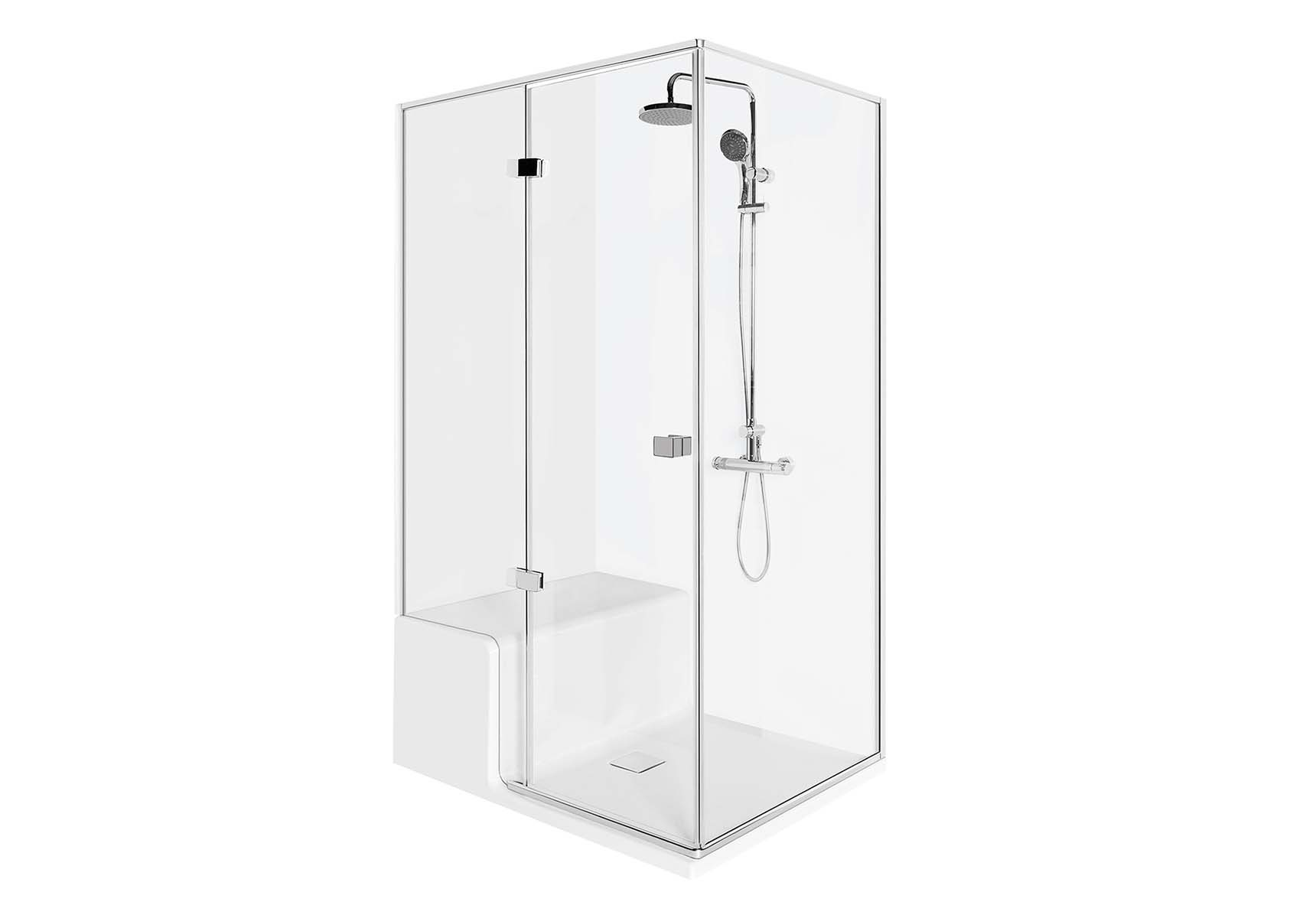 Roomy Shower Unit 120X080 Left, U wall, with Legs and Panels