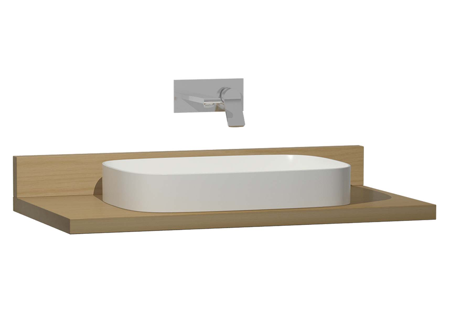Memoria Black Counter, 100 cm, Patterned Oak, Washbasin Matte Beige