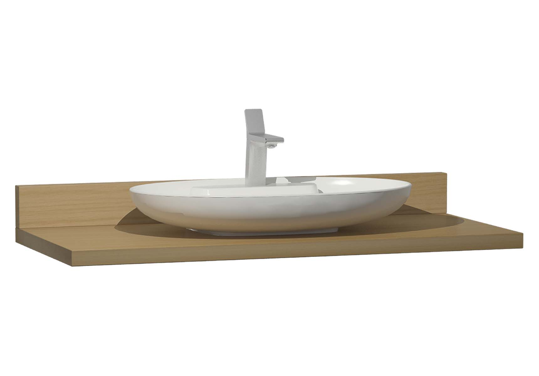 Memoria Black Counter, 120 cm, Patterned Oak, Washbasin Matte Beige