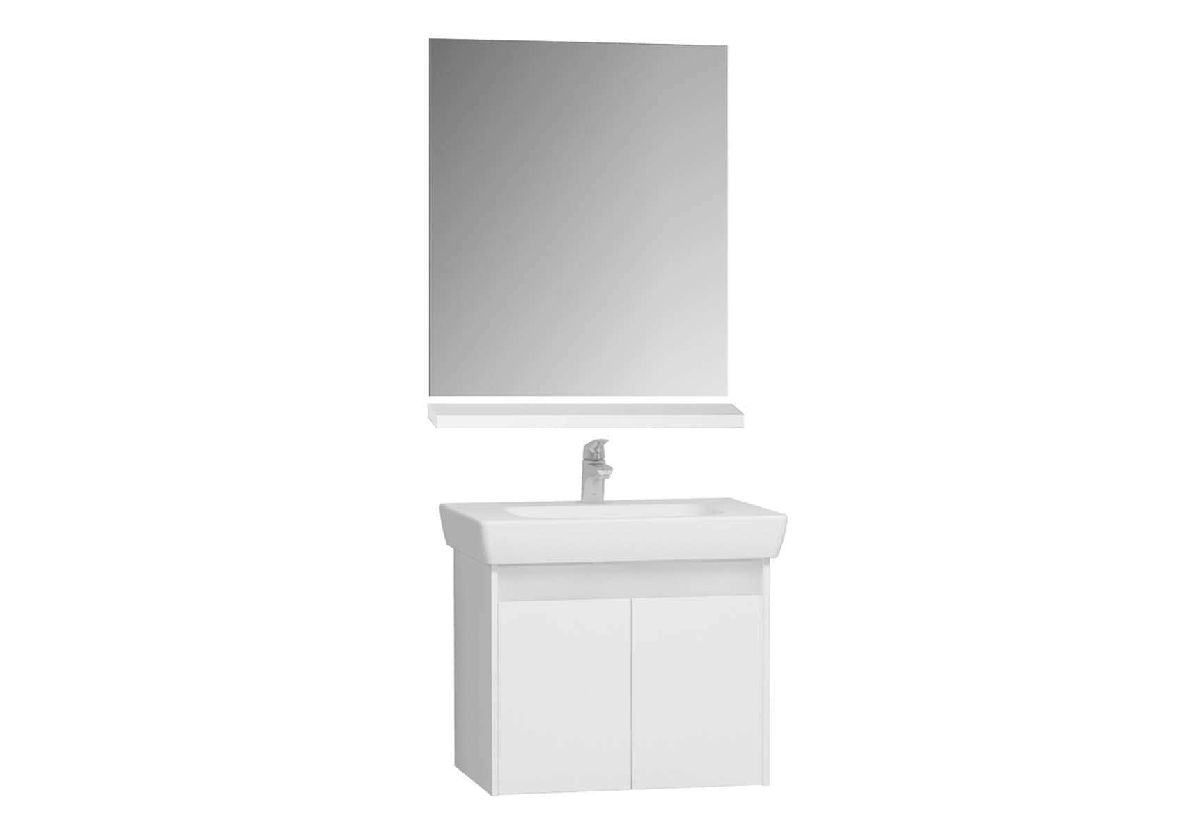 Optima Washbasin unit with drawer, 60 cm (washbasin unit + shelf + mirror)