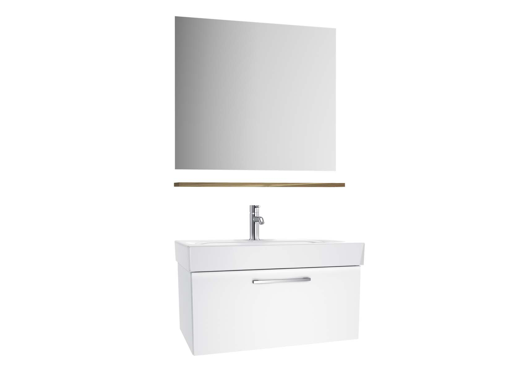 Optima Washbasin unit with drawer, 80 cm (washbasin unit + shelf + mirror)